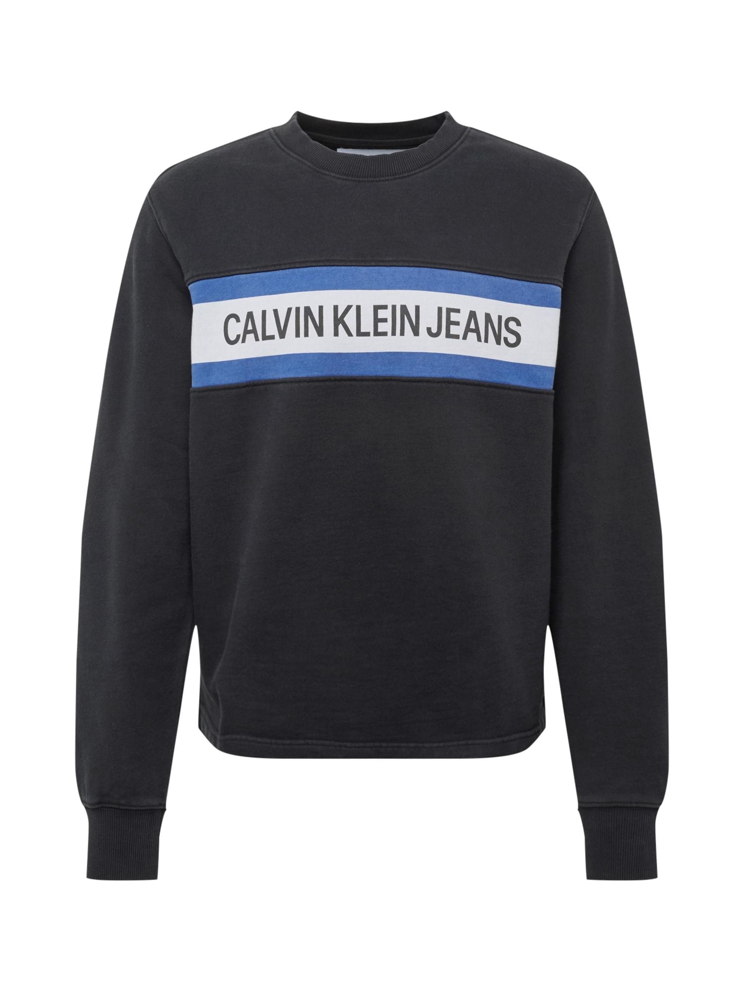 Mikina INSTIT FRONT STRIPE CN modrá černá bílá Calvin Klein Jeans
