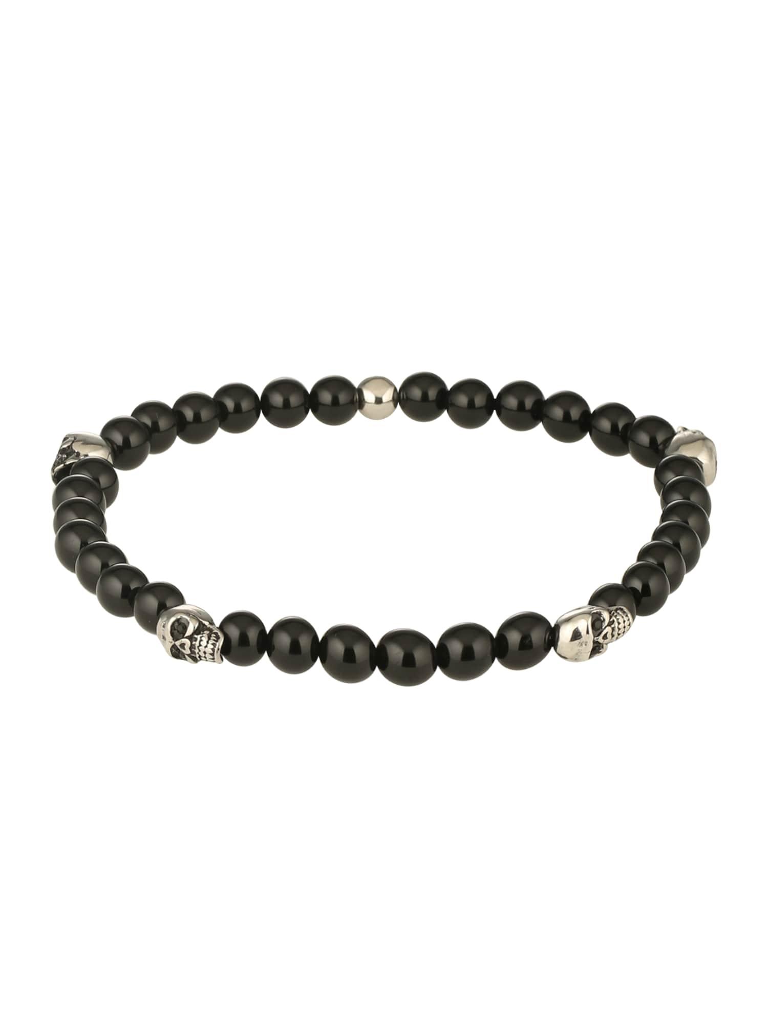 Náramek Bracelet Lava Bead Skull  černá stříbrná ROYAL-EGO