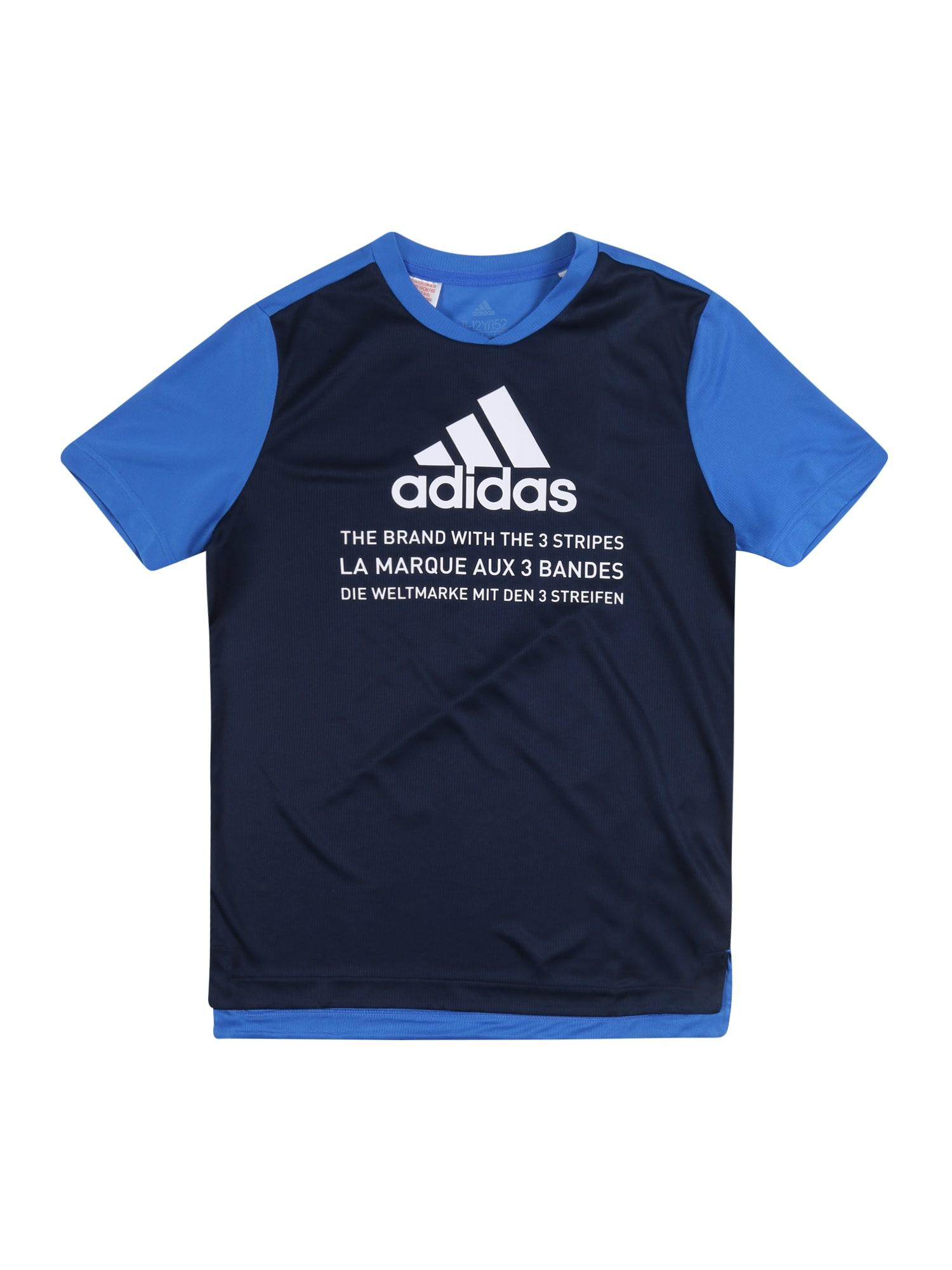 ADIDAS PERFORMANCE Sportiniai marškinėliai mėlyna / tamsiai mėlyna