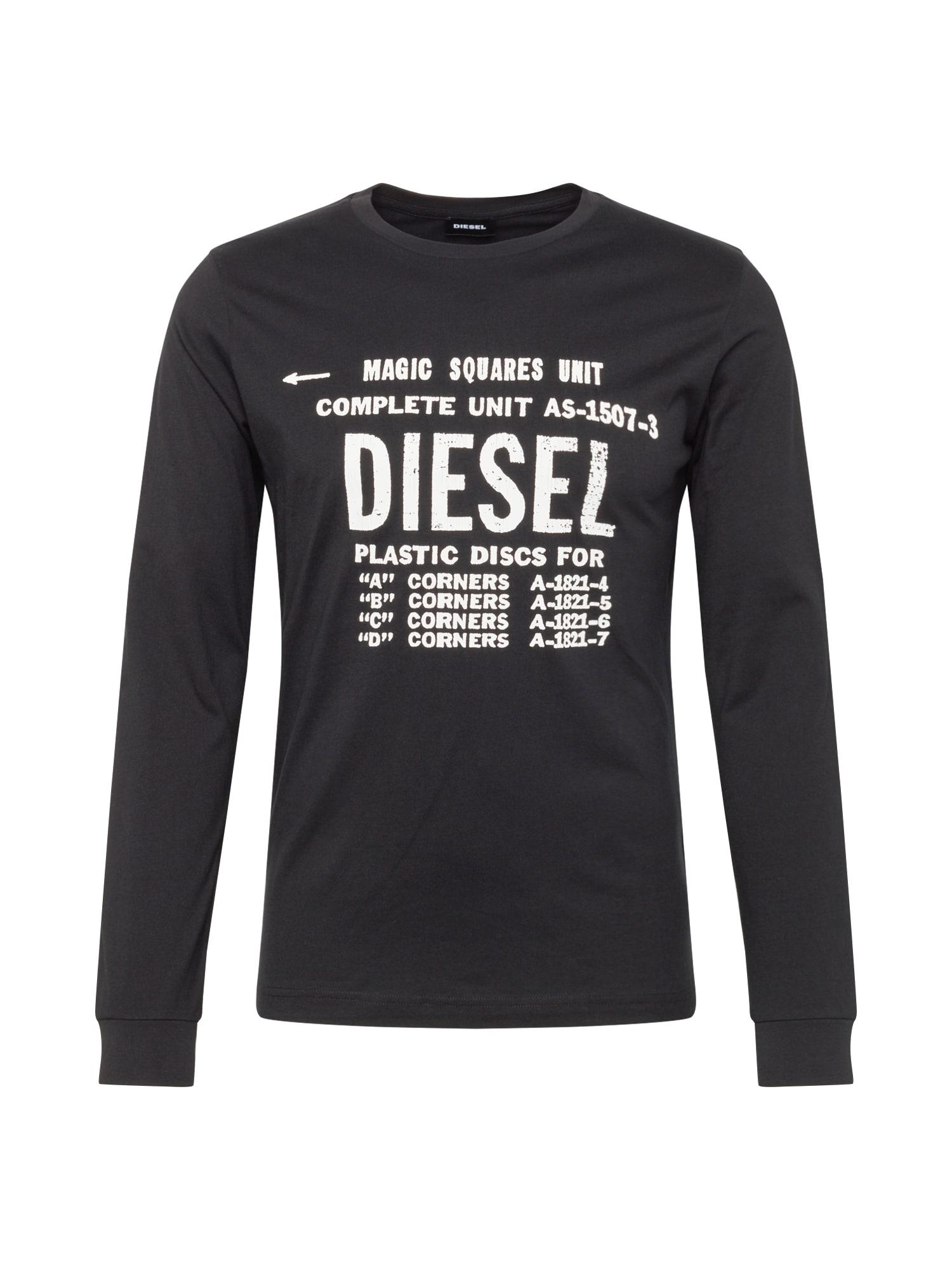 DIESEL Marškinėliai juoda / balta