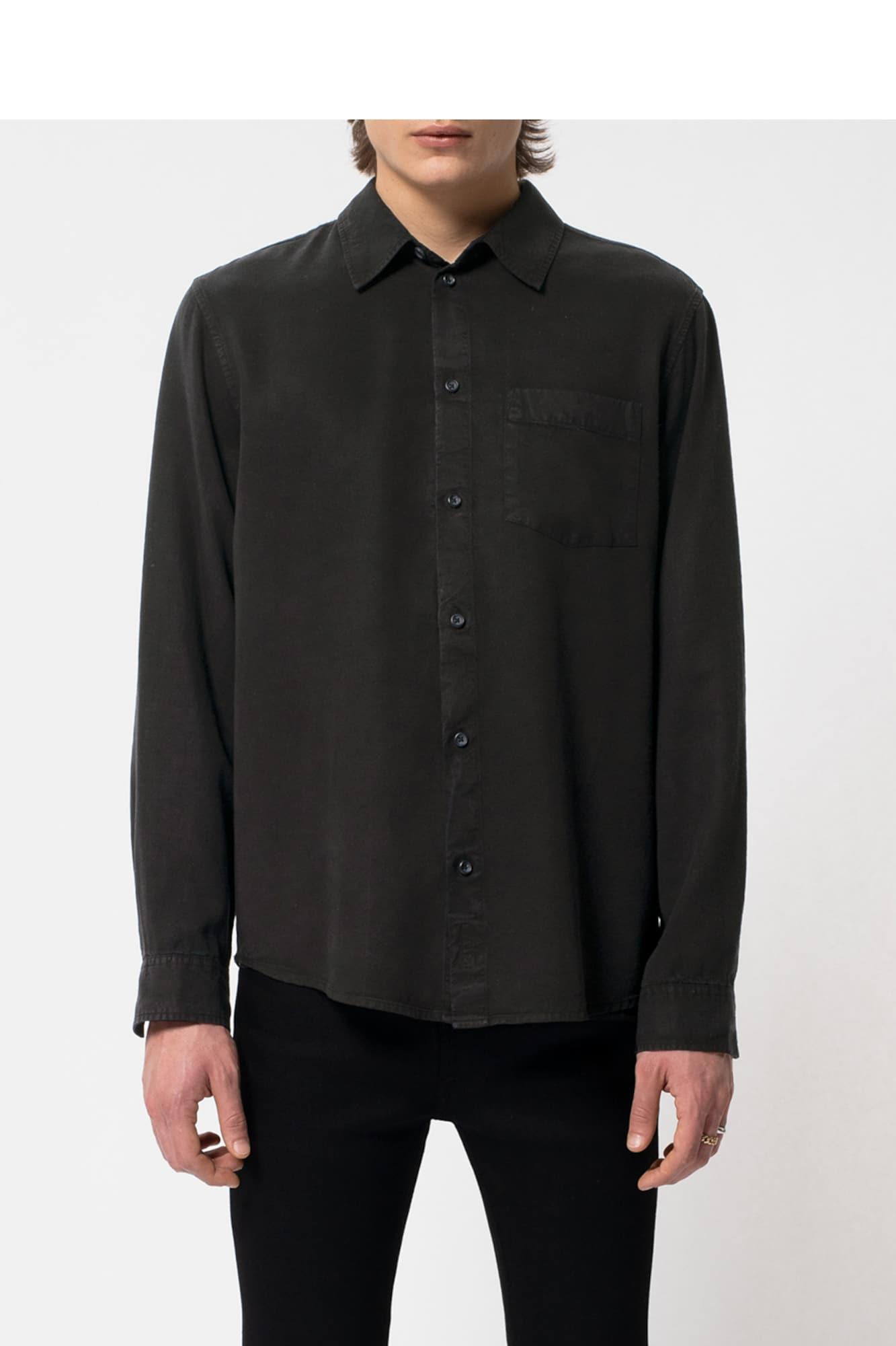 Nudie Jeans Co Skjorta ' Chuck Smooth Twill '  svart