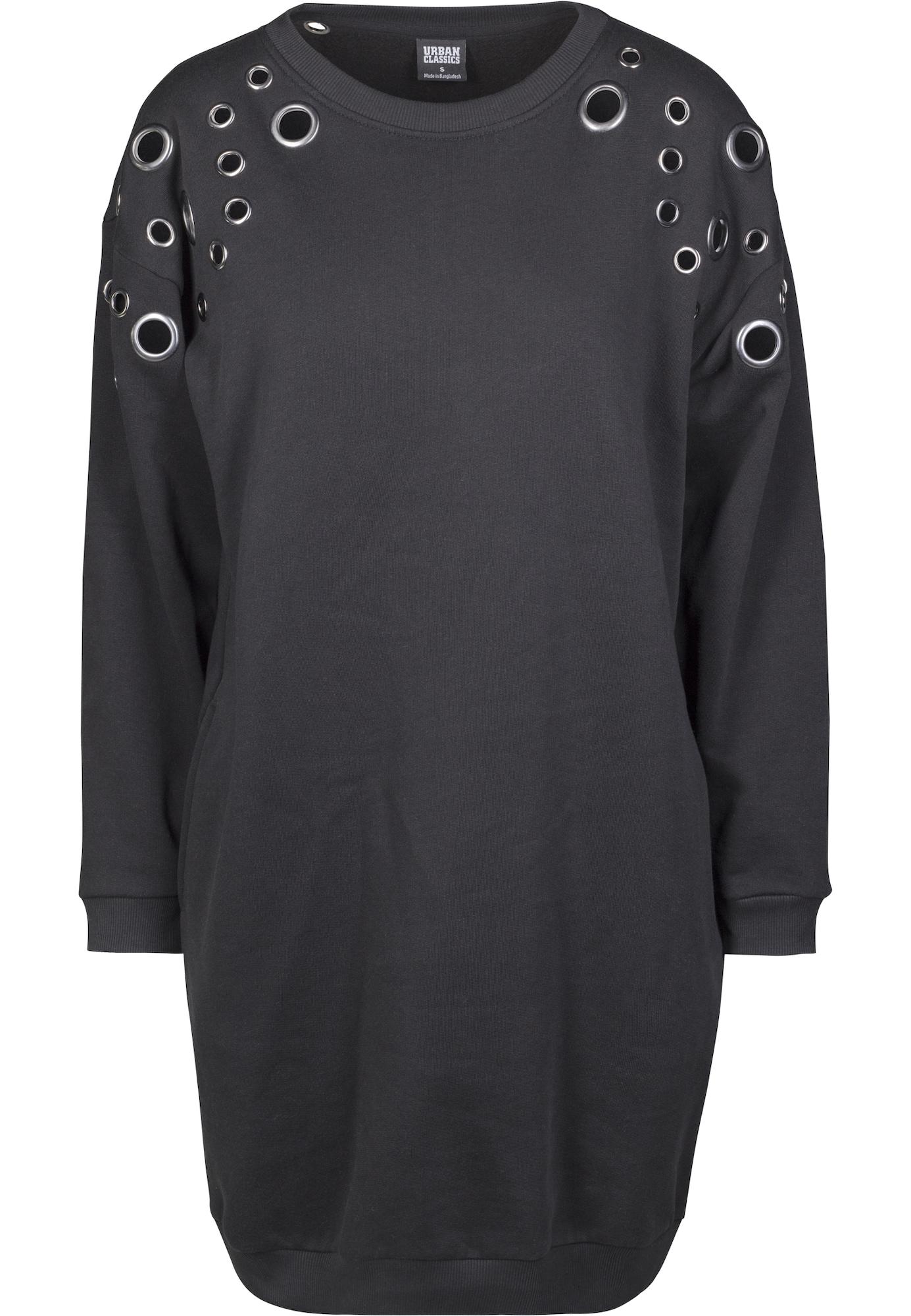 Šaty Sweat Eyelet černá Urban Classics Curvy
