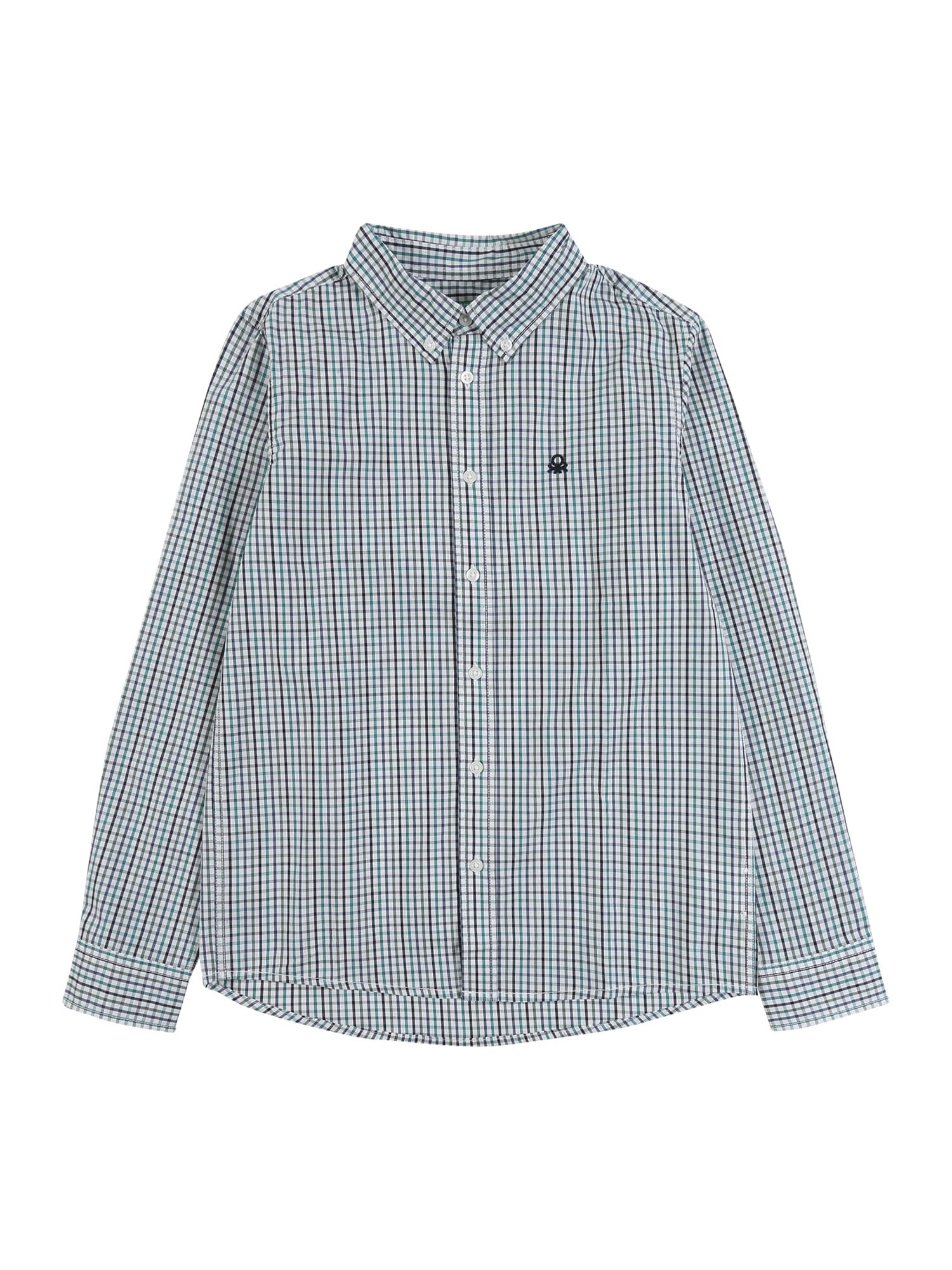 UNITED COLORS OF BENETTON Dalykiniai marškiniai balta / mišrios spalvos / mėlyna