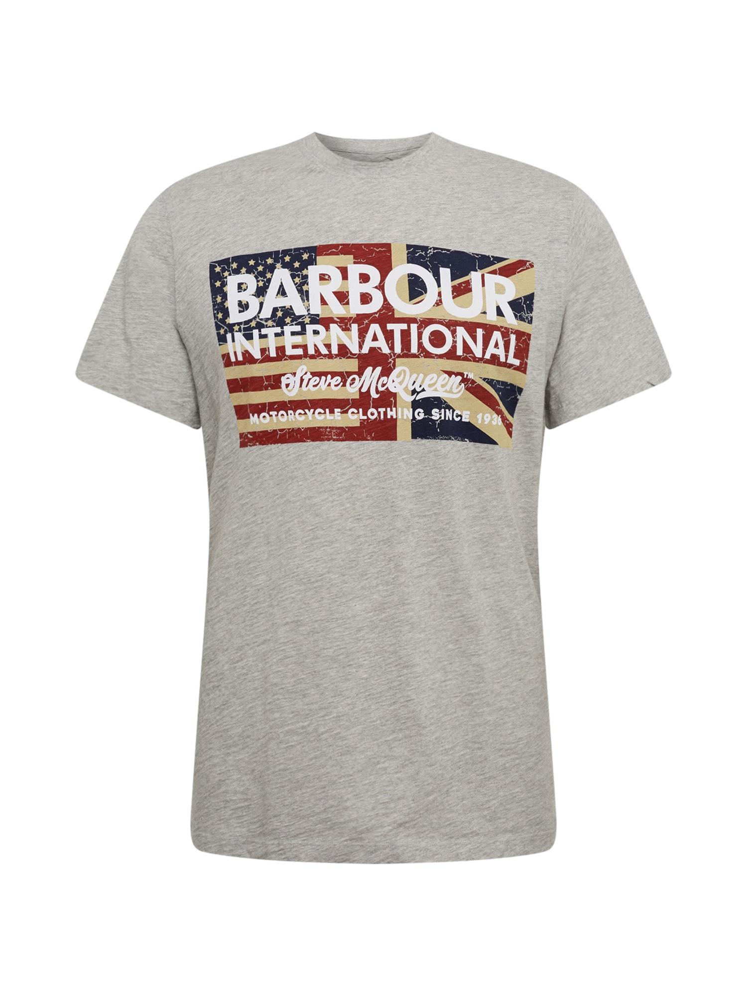 Barbour International Marškinėliai pilka / raudona / mėlyna