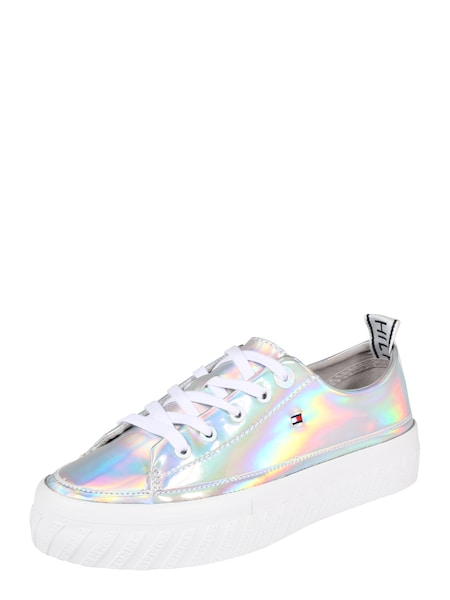Sneakers für Frauen - Sneaker 'IRIDESCENT FLATFORM SNEAKER' › Tommy Hilfiger › silber  - Onlineshop ABOUT YOU