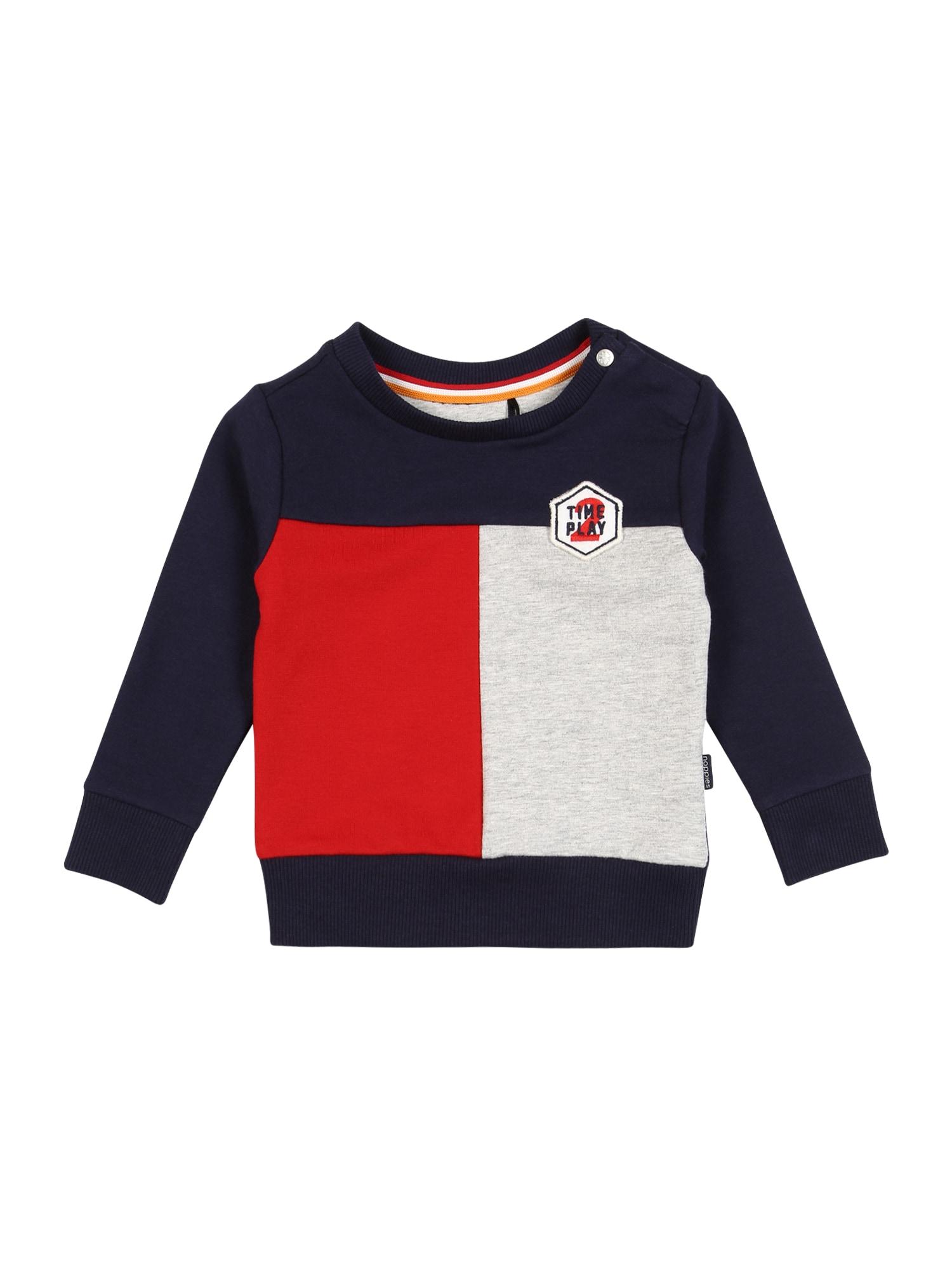 Noppies Megztinis be užsegimo raudona / pilka / tamsiai mėlyna jūros spalva