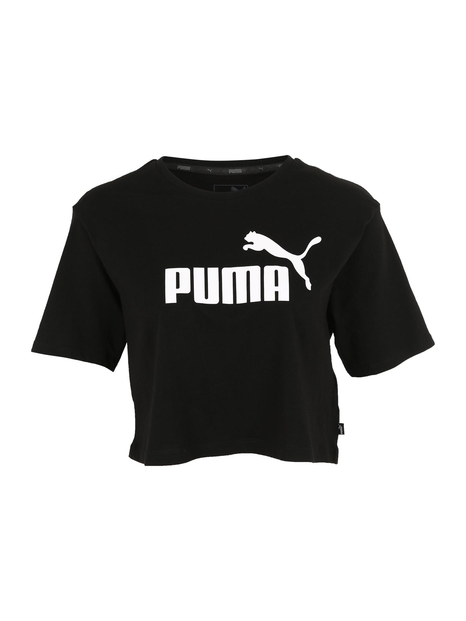 PUMA Sportiniai marškinėliai balta / juoda