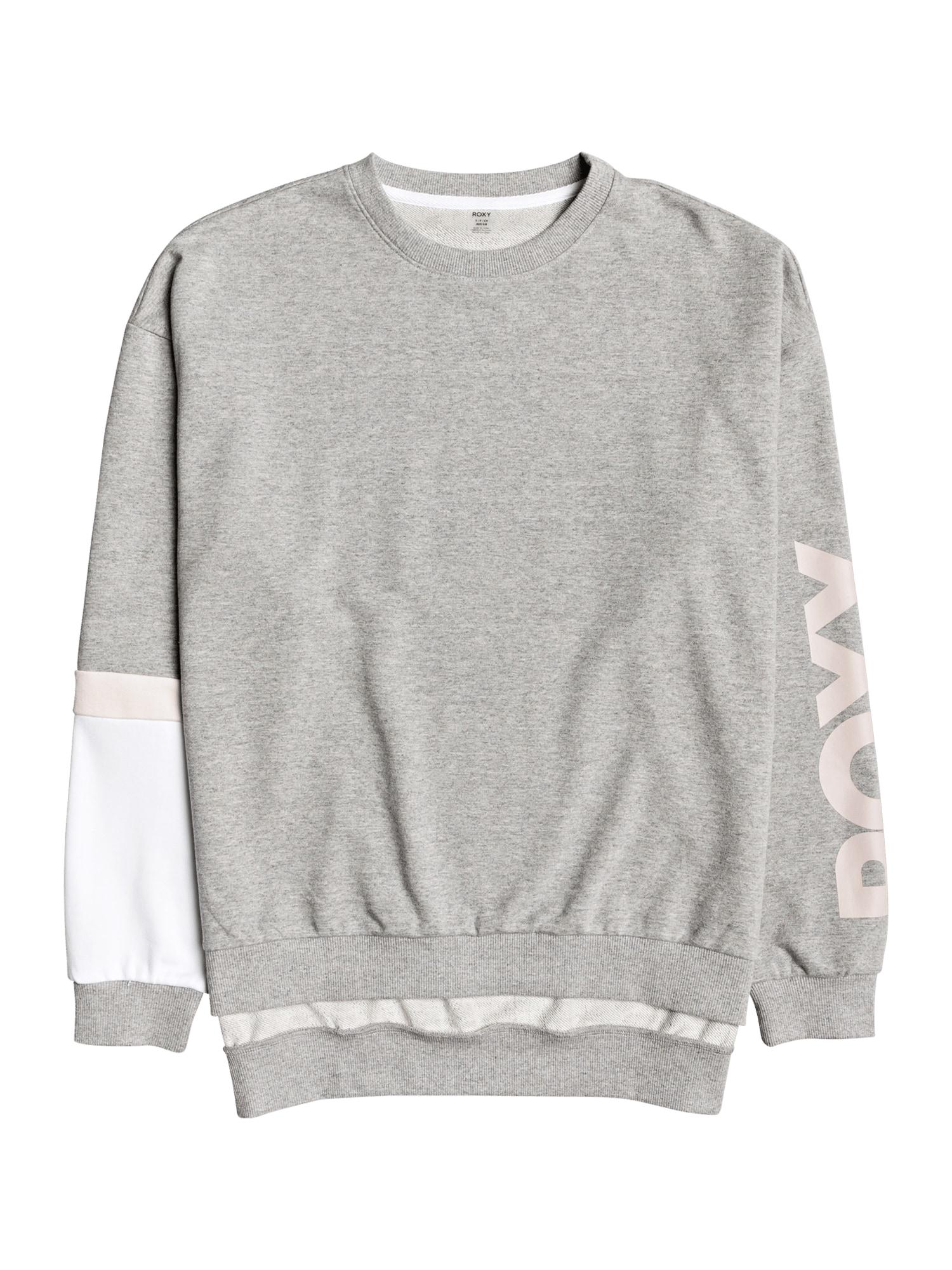 ROXY Sportinio tipo megztinis 'It Might Get Loud' rožių spalva / šviesiai pilka / balta