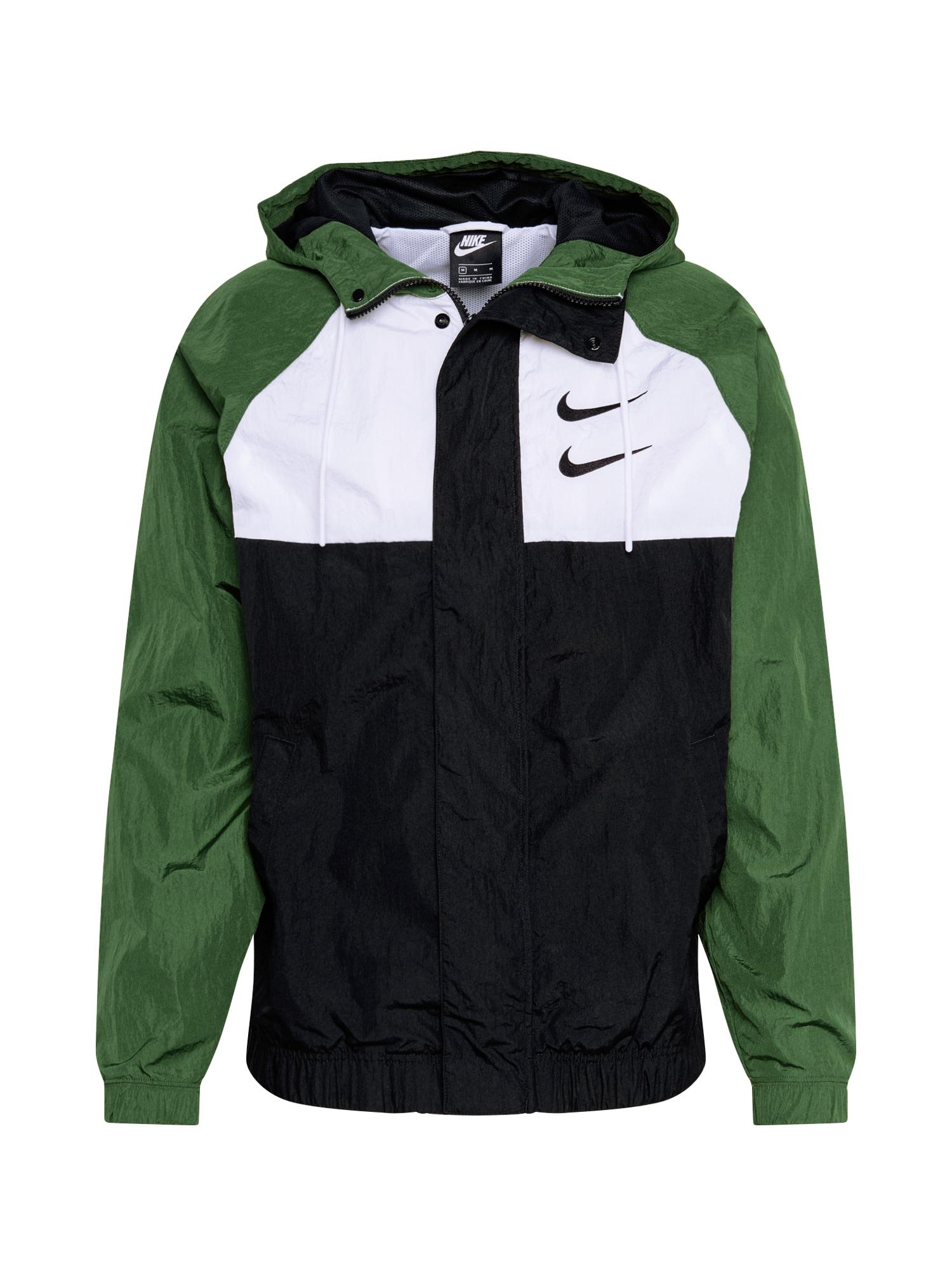 Nike Sportswear Džemperis 'SWOOSH' žalia / juoda / balta