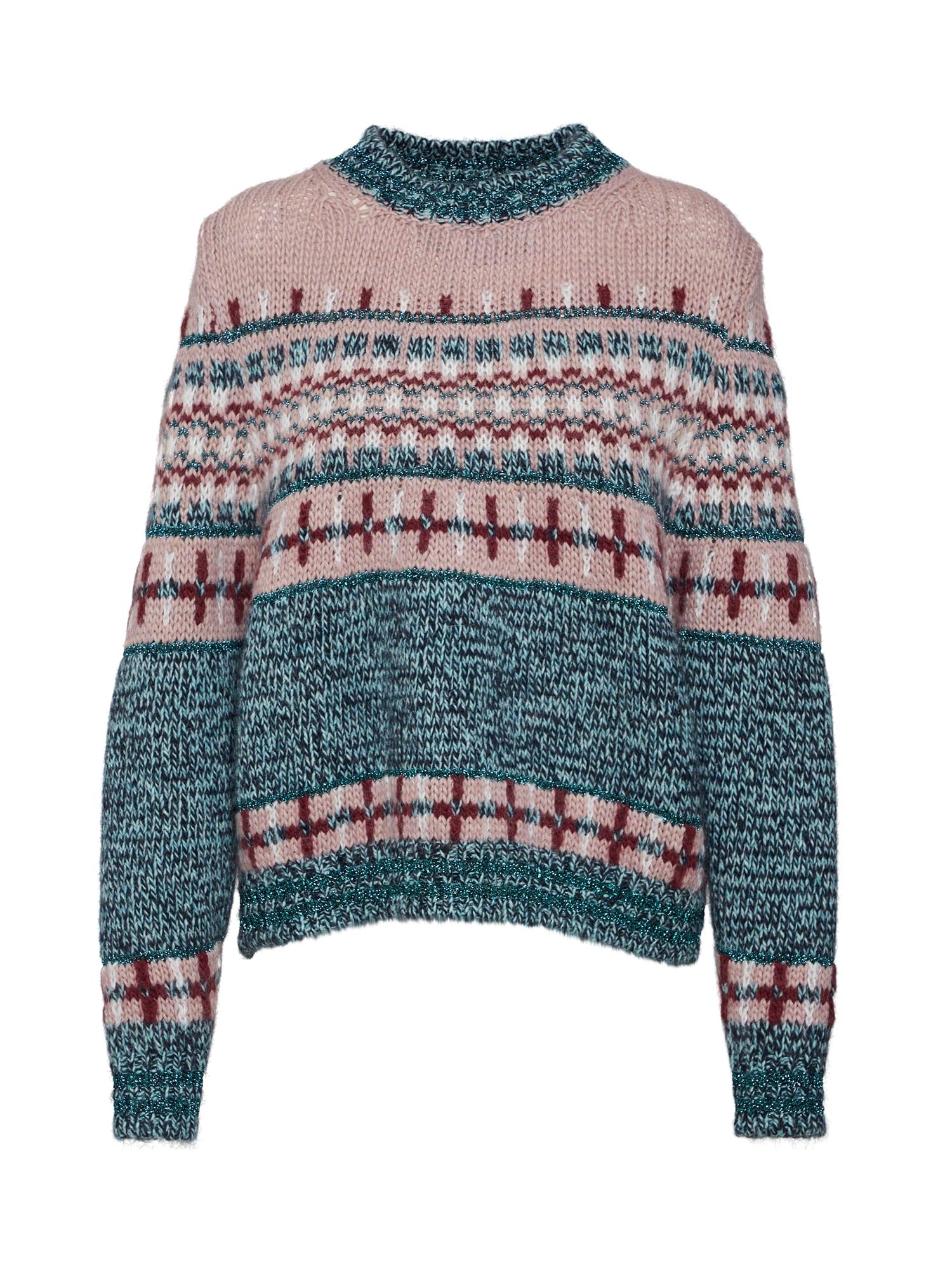 Svetr Rochers jacquard sweater zelená růžová Essentiel Antwerp