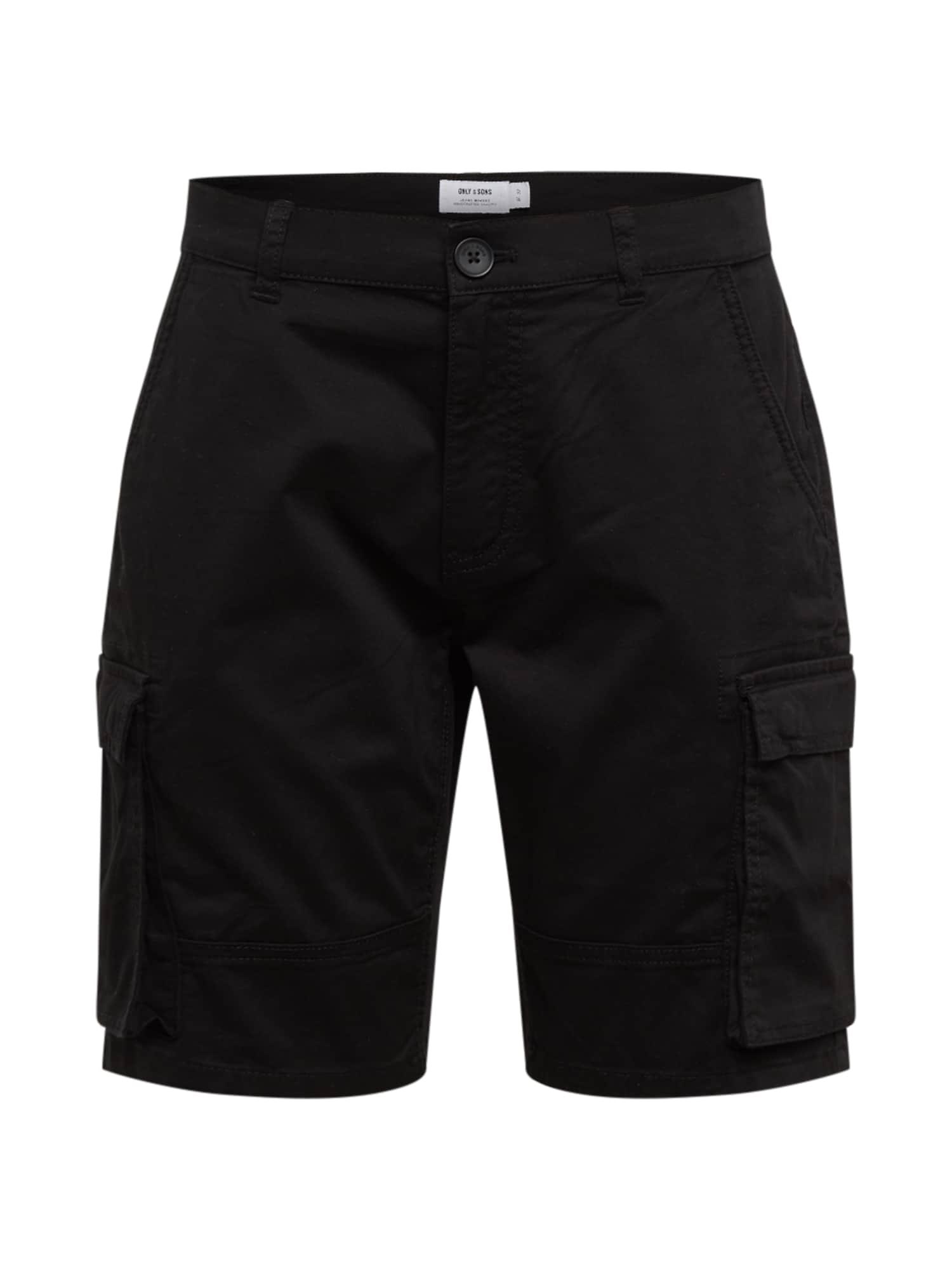 Only & Sons Laisvo stiliaus kelnės 'ONSCAM STAGE CARGO SHORTS PG 6689' juoda