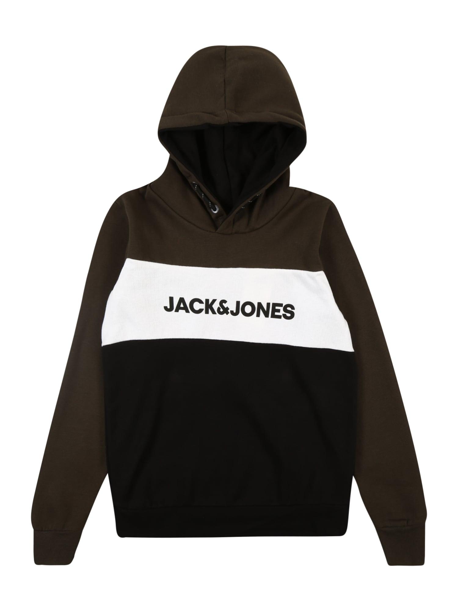 Jack & Jones Junior Megztinis balta / juoda / tamsiai ruda