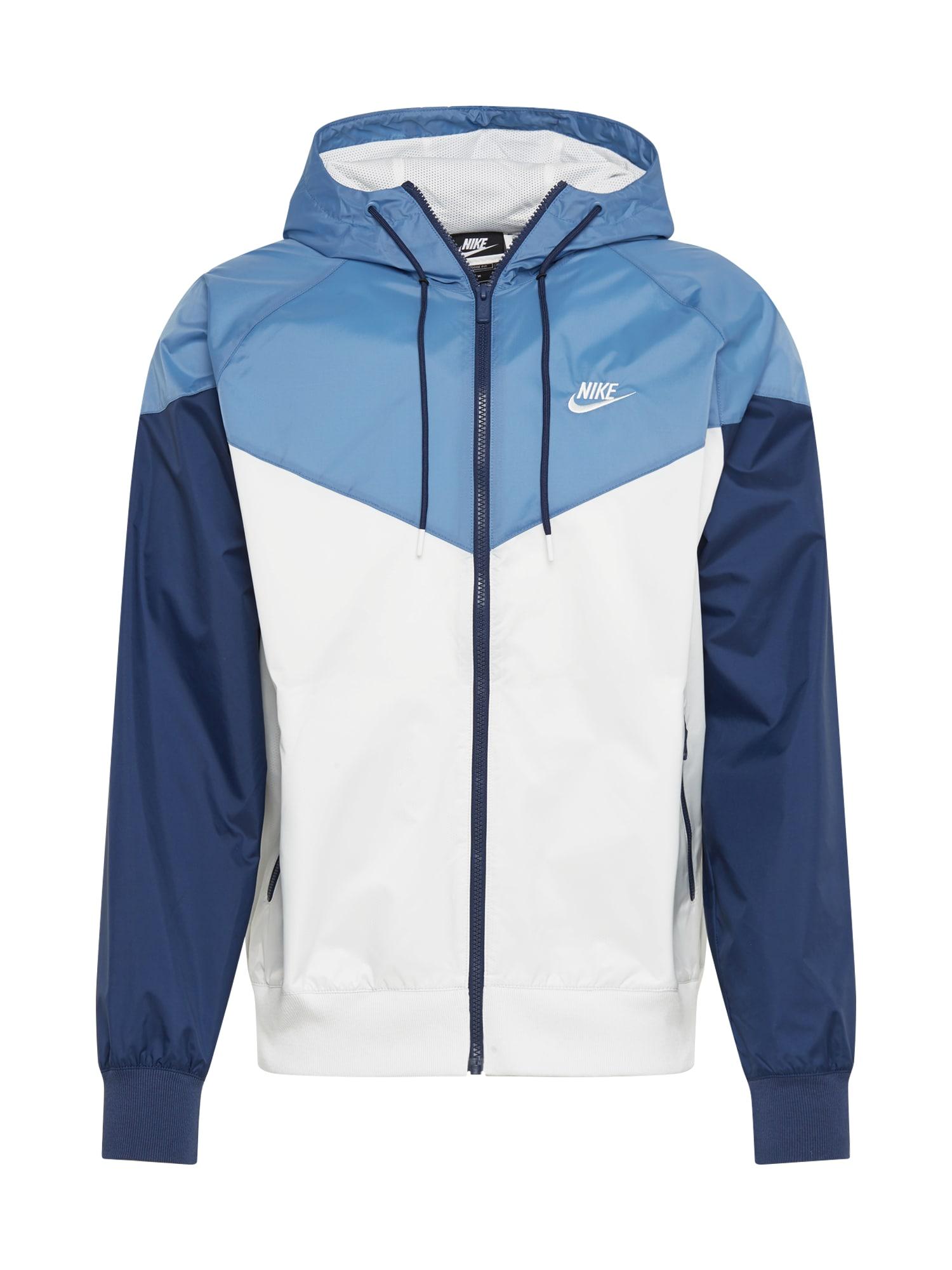 Nike Sportswear Demisezoninė striukė tamsiai mėlyna / balta / šviesiai mėlyna