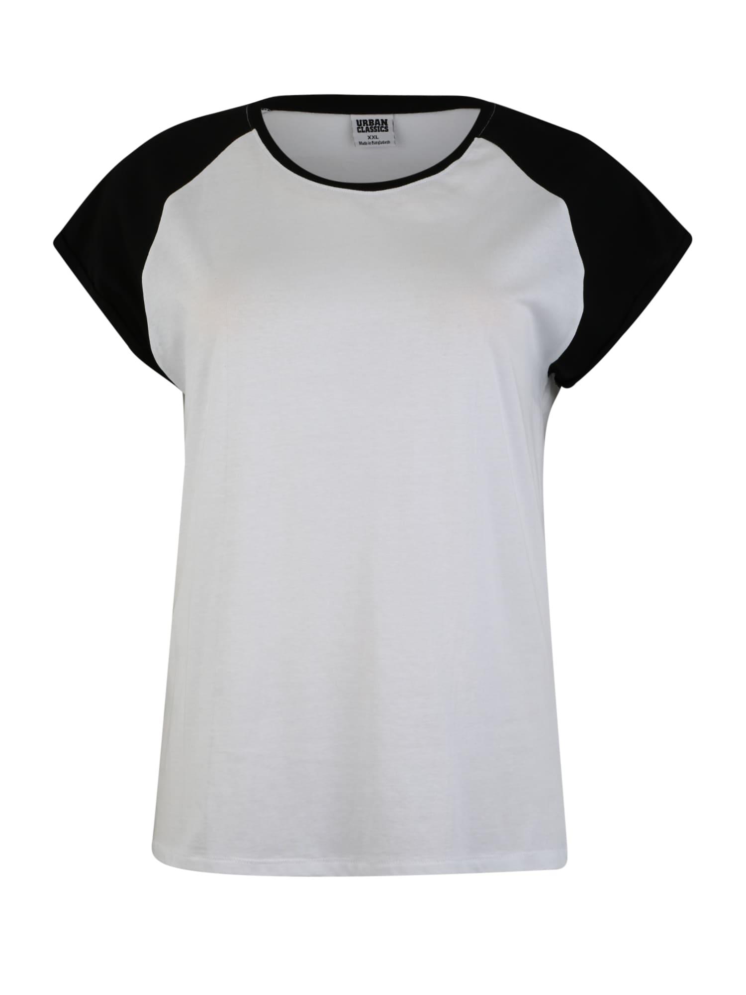 Tričko Ladies Contrast Raglan černá bílá Urban Classics Curvy