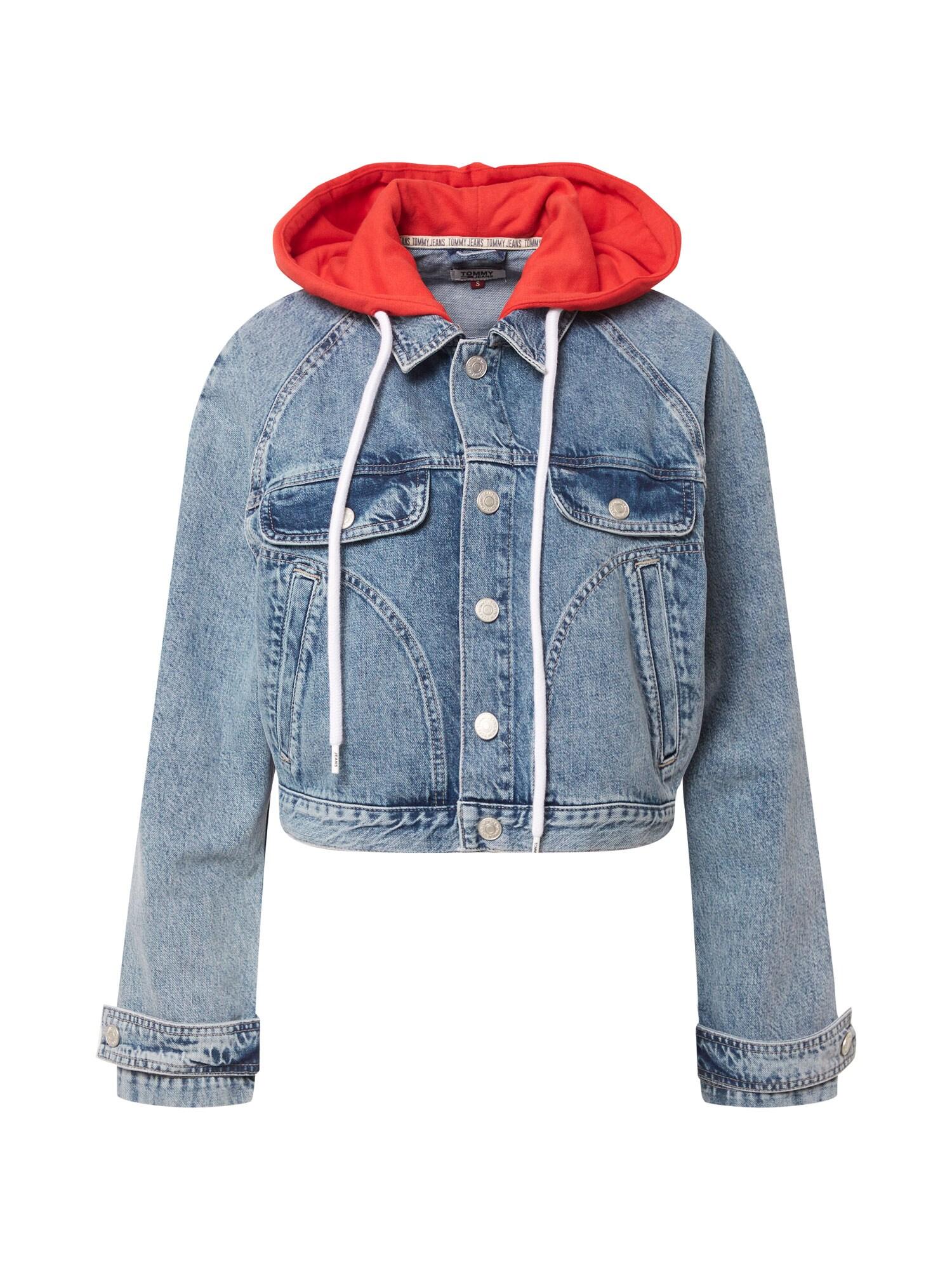 Tommy Jeans Demisezoninė striukė tamsiai (džinso) mėlyna / šviesiai raudona