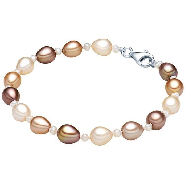 Armbaender für Frauen - Valero Pearls Armband aus Süßwasser Zuchtperlen braun hellbraun silber perlweiß  - Onlineshop ABOUT YOU