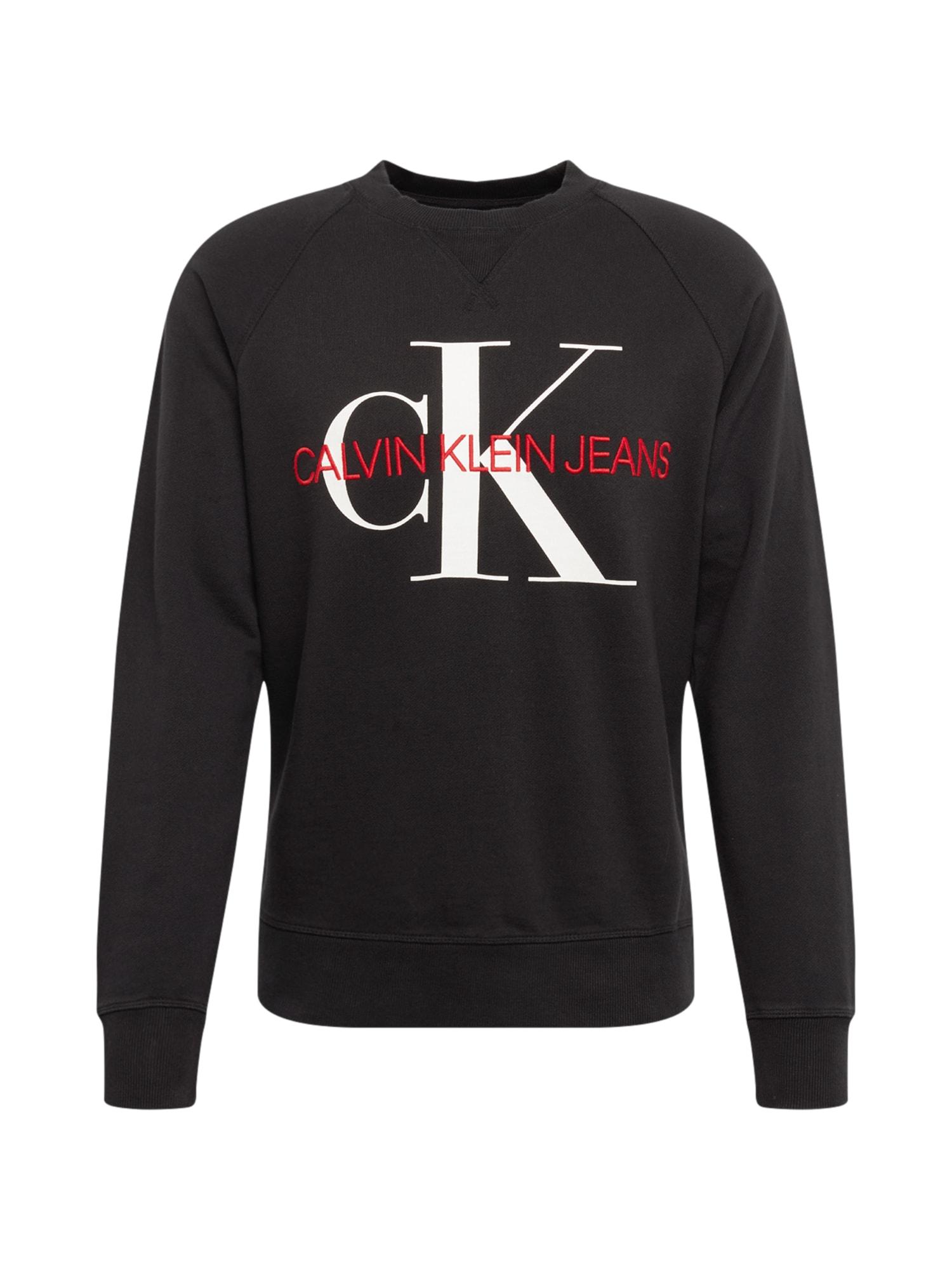 Calvin Klein Jeans Megztinis be užsegimo 'WASHED REG MONOGRAM CN' raudona / juoda / balta