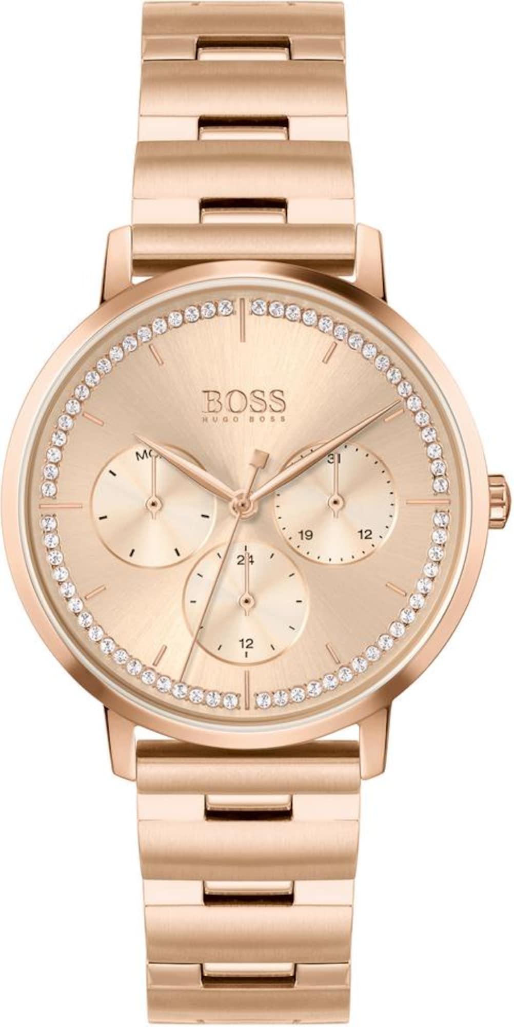 BOSS Analoginis (įprasto dizaino) laikrodis 'PRIMA' rožinio aukso spalva / balta