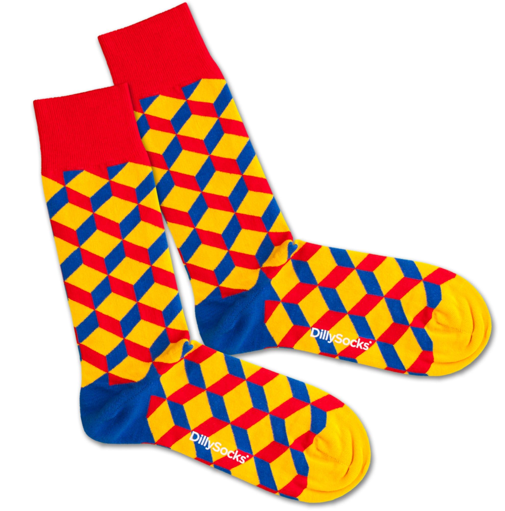 DillySocks Kojinės 'Big Lego Dice' mėlyna / geltona / raudona
