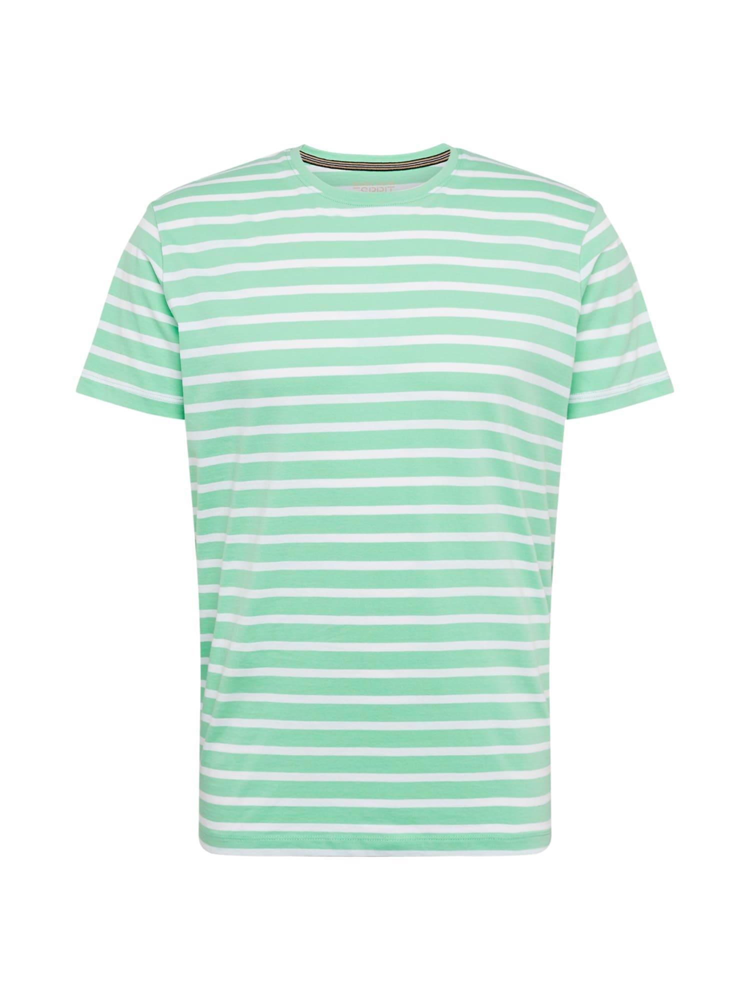 ESPRIT Marškinėliai šviesiai žalia / balta