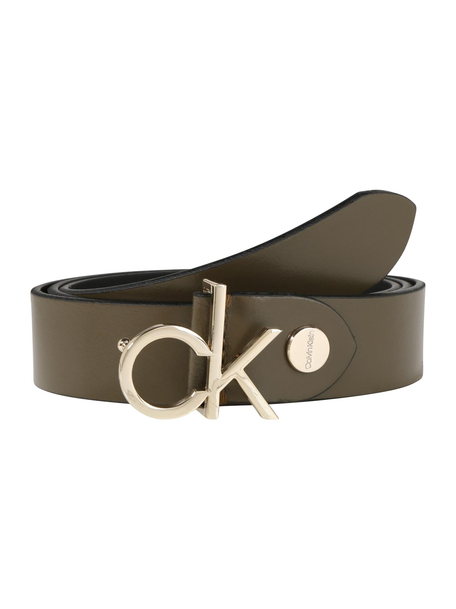 Calvin Klein Diržas 'CK LOW BELT ADJ 3.0' alyvuogių spalva / tamsiai žalia