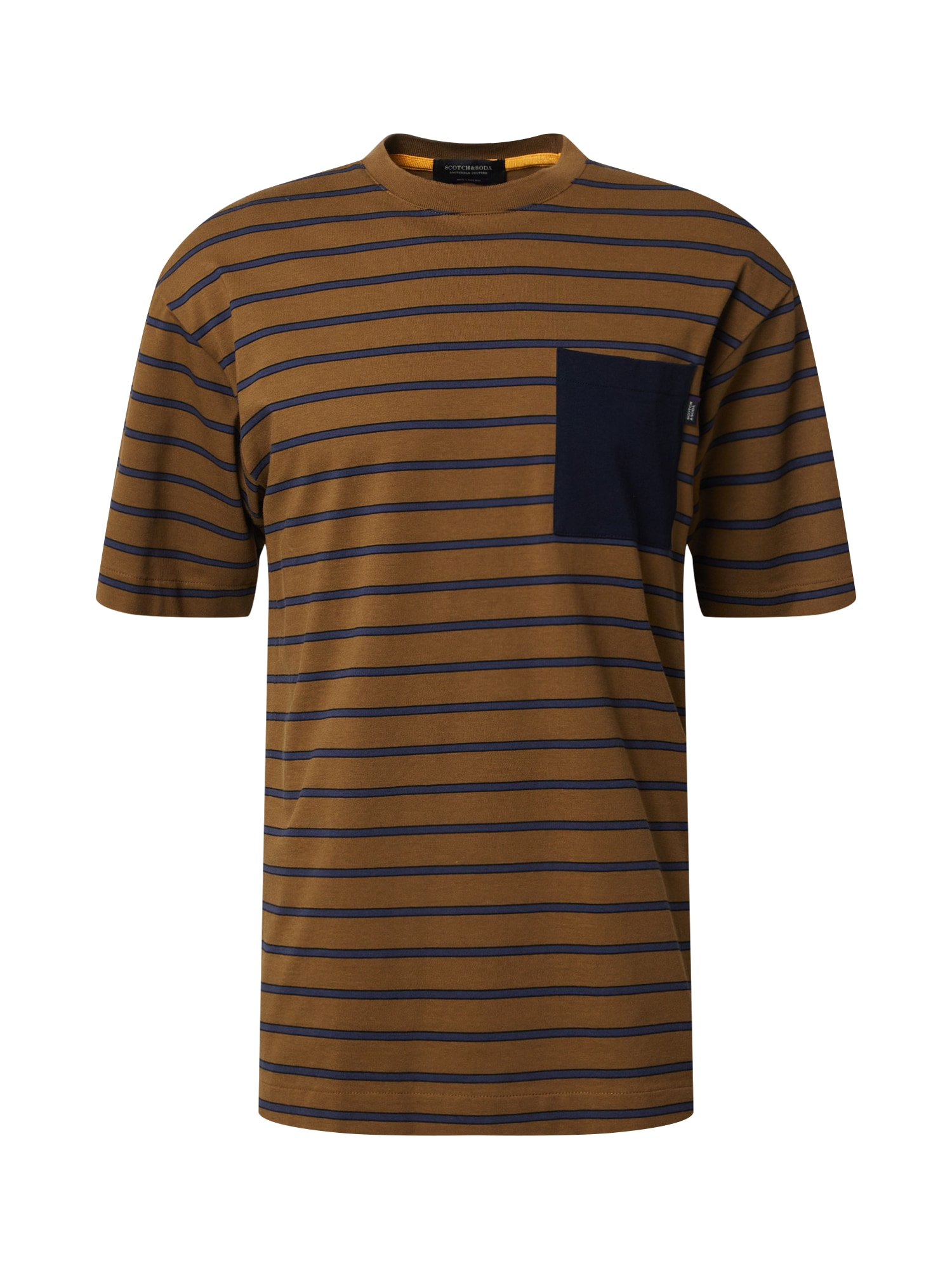 SCOTCH & SODA Tričko  modrá / tmavě oranžová / černá