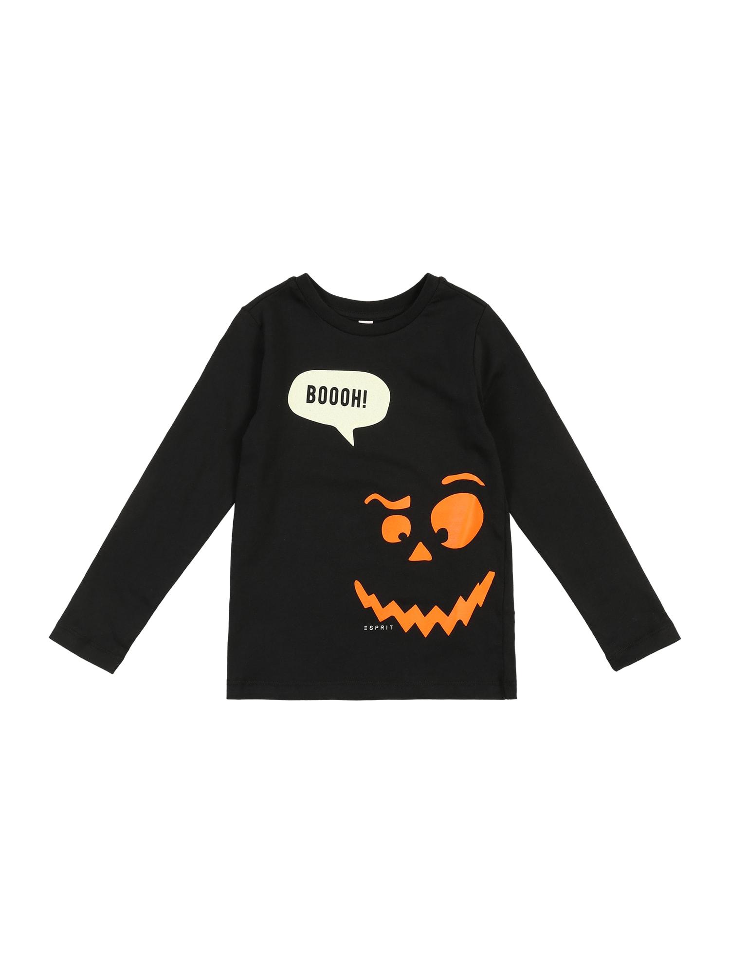 ESPRIT Marškinėliai oranžinė / juoda / balta