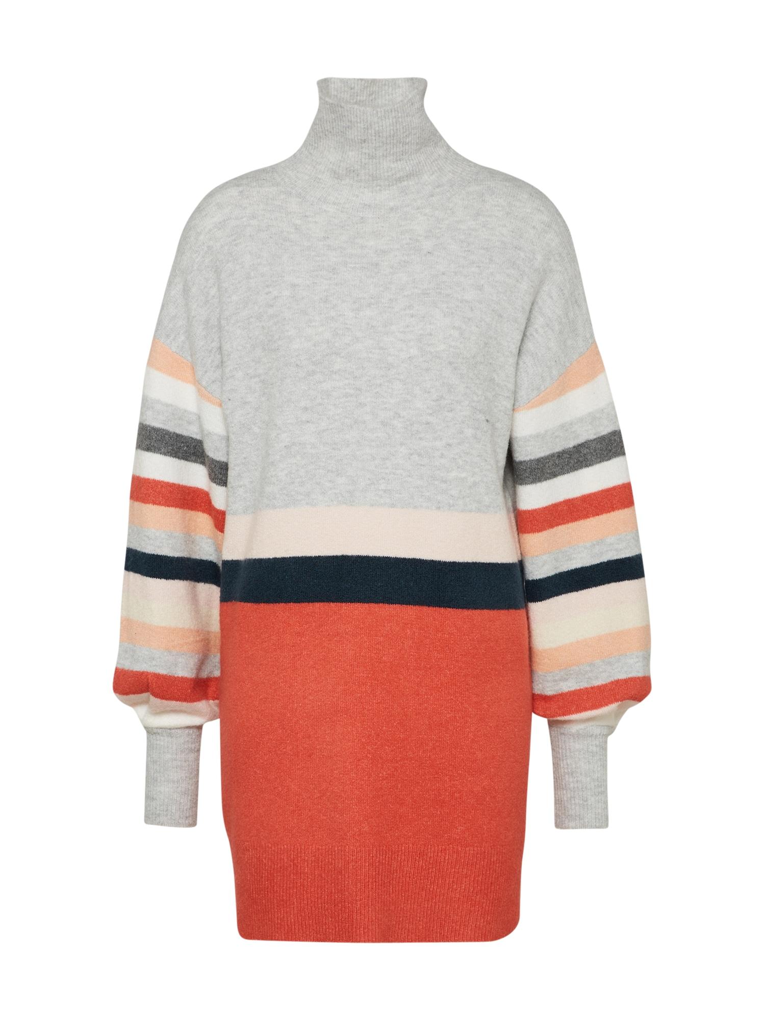 Úpletové šaty EVA šedá tmavě oranžová MINKPINK