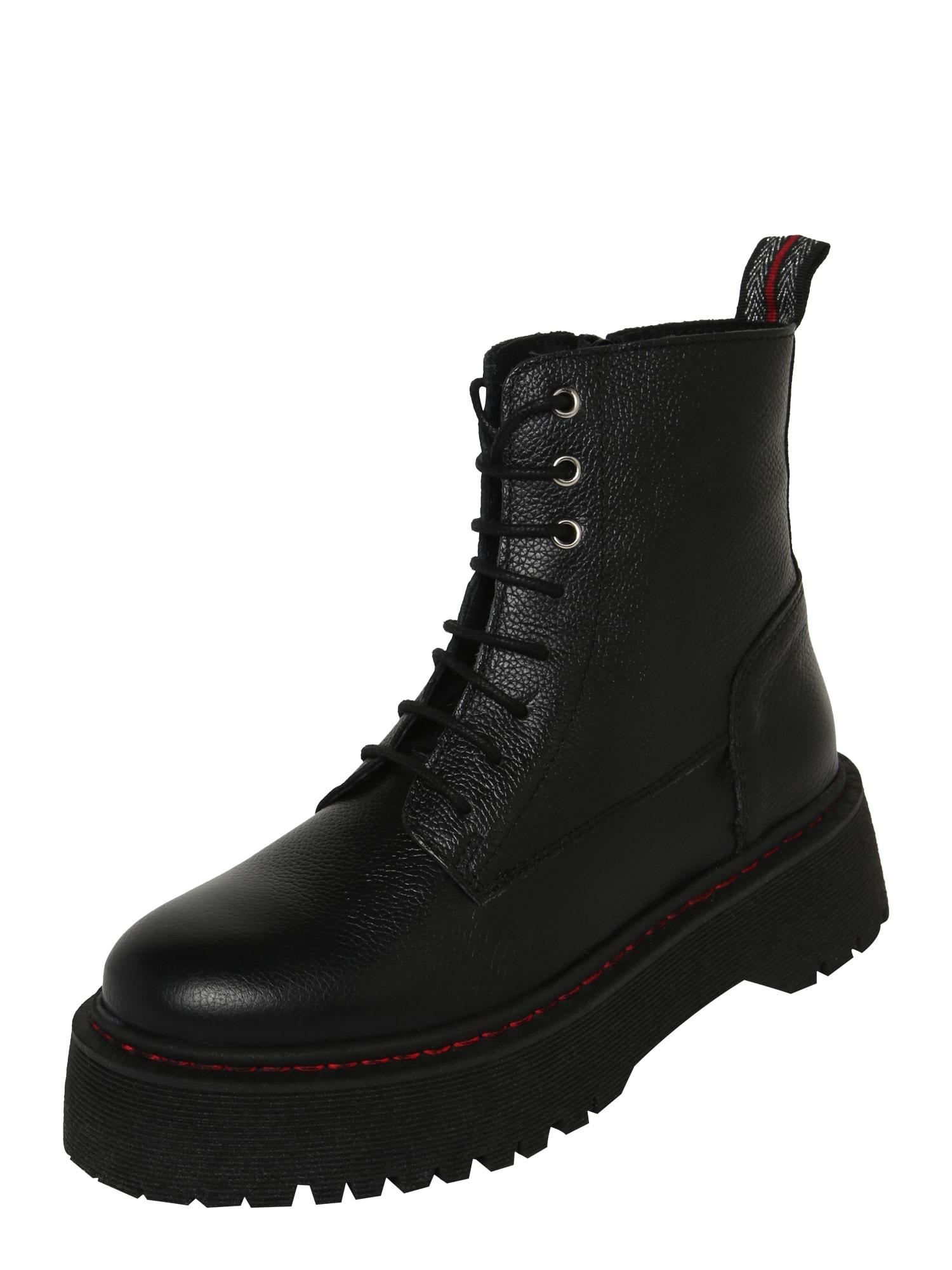 PS Poelman Suvarstomieji kulkšnis dengiantys batai juoda / raudona