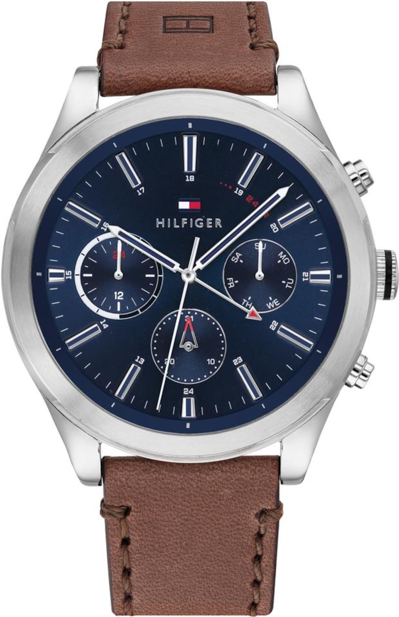 TOMMY HILFIGER Analoginis (įprasto dizaino) laikrodis tamsiai mėlyna jūros spalva / ruda / sidabrinė