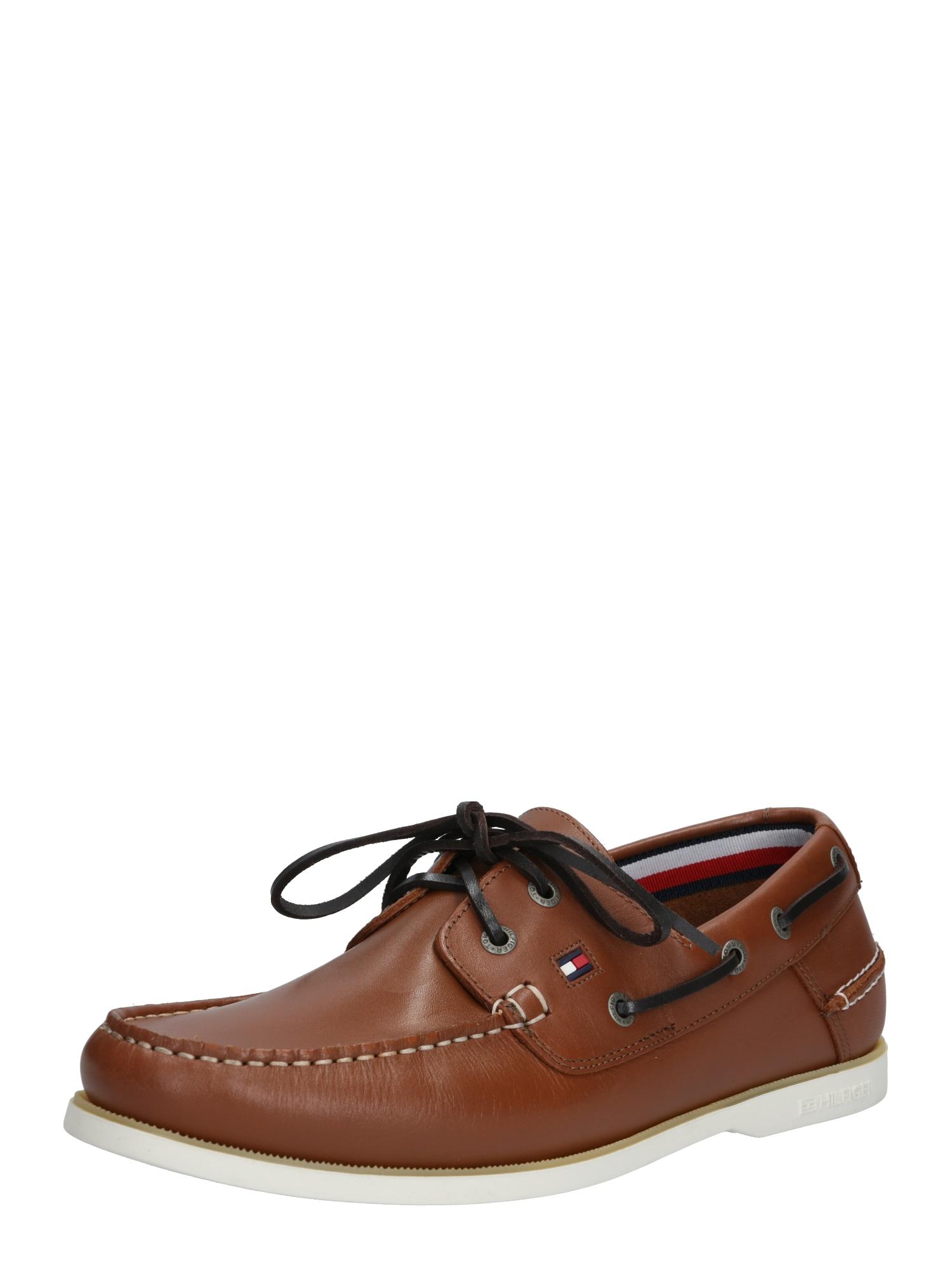 TOMMY HILFIGER Sportinio stiliaus batai su raišteliais ruda (konjako)