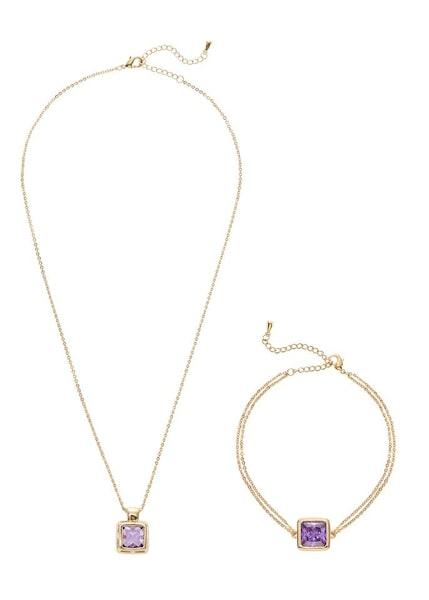 Schmucksets für Frauen - Ketten und Armband Set › Lascana › gold helllila  - Onlineshop ABOUT YOU