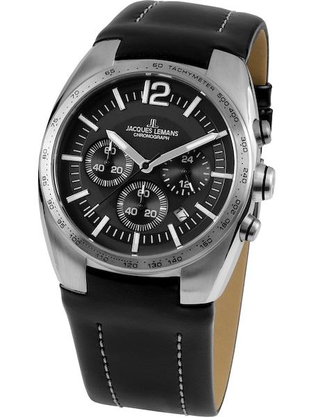 Uhren für Frauen - Jacques Lemans Uhr 'Powerchrono' schwarz silber  - Onlineshop ABOUT YOU