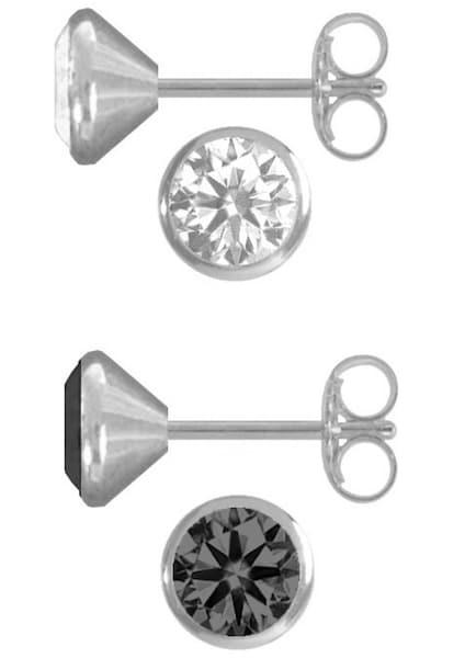 Ohrringe für Frauen - FIRETTI 2 Paar Ohrstecker rund mit Zirkonia (4tlg.) silber  - Onlineshop ABOUT YOU
