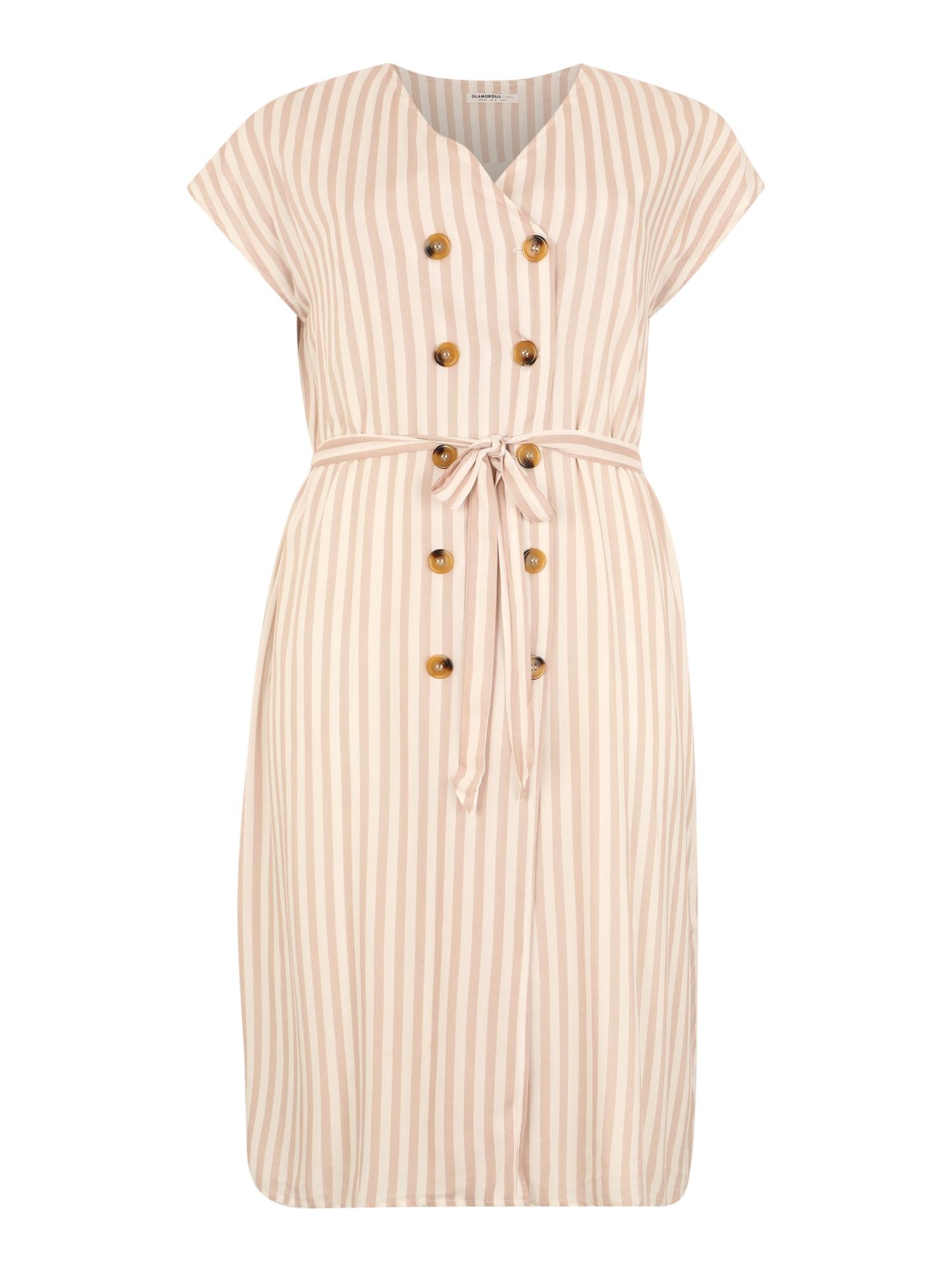 GLAMOROUS CURVE Vasarinė suknelė balta / smėlio