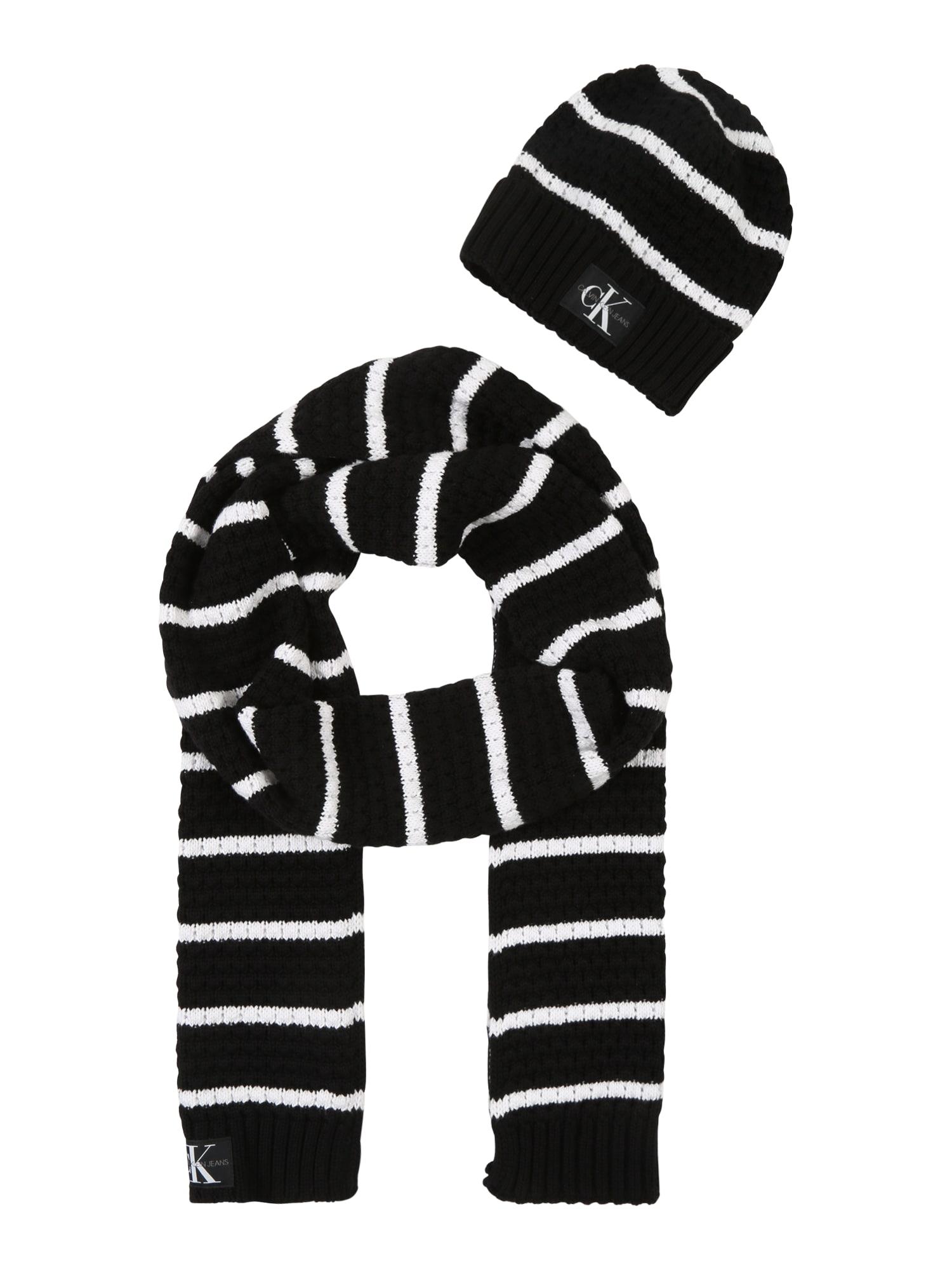 Calvin Klein Šalikas 'J KNIT' juoda / balta