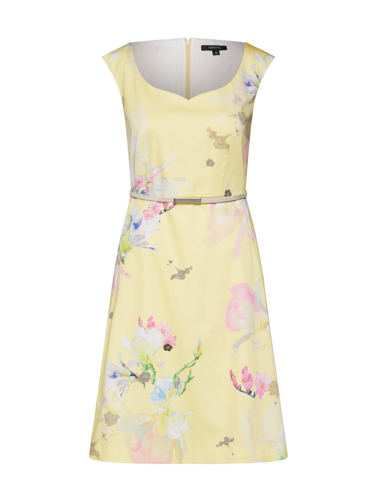 Koktejlové šaty žlutá mix barev COMMA