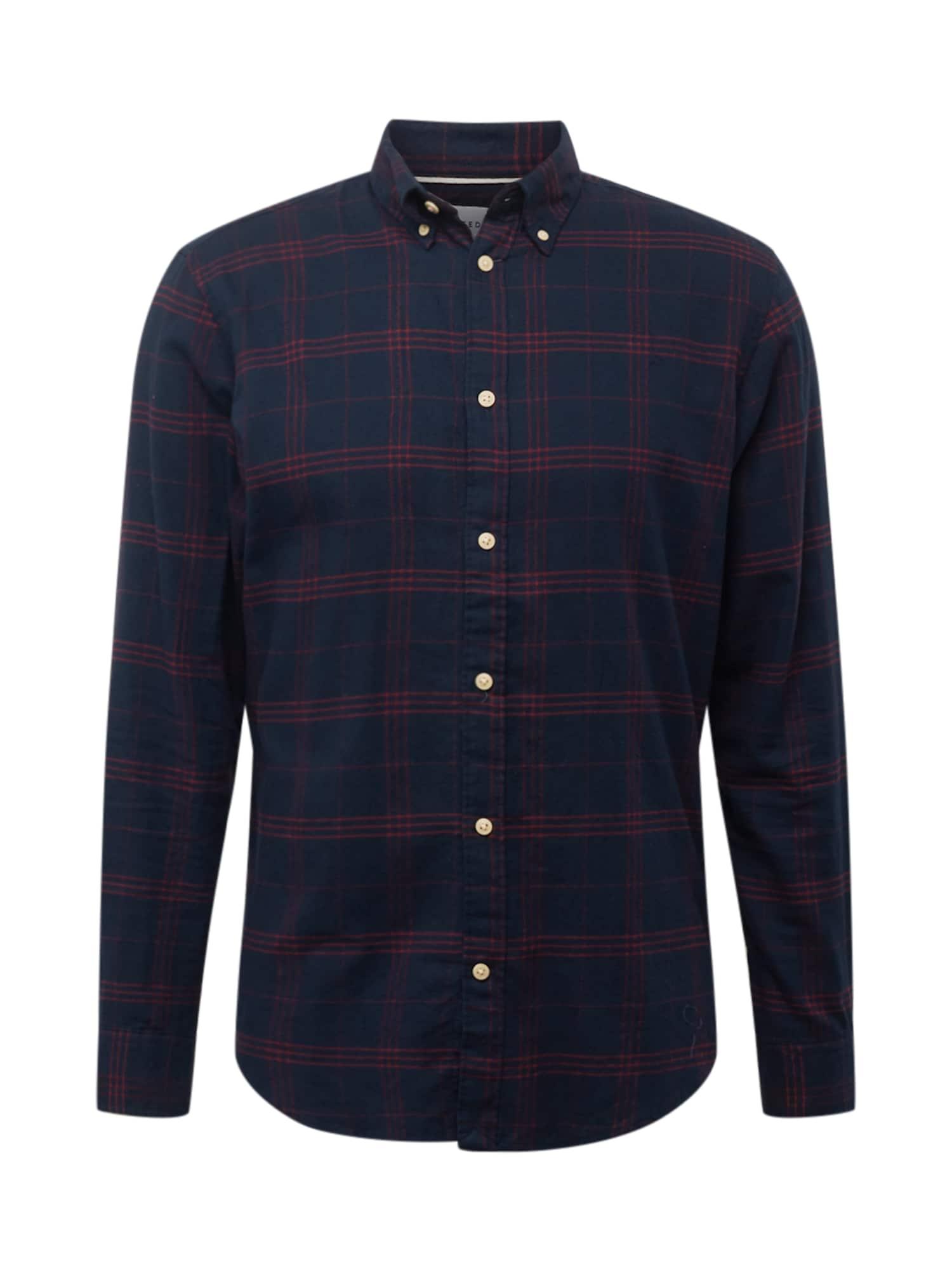 SELECTED HOMME Marškiniai tamsiai mėlyna / vyno raudona spalva
