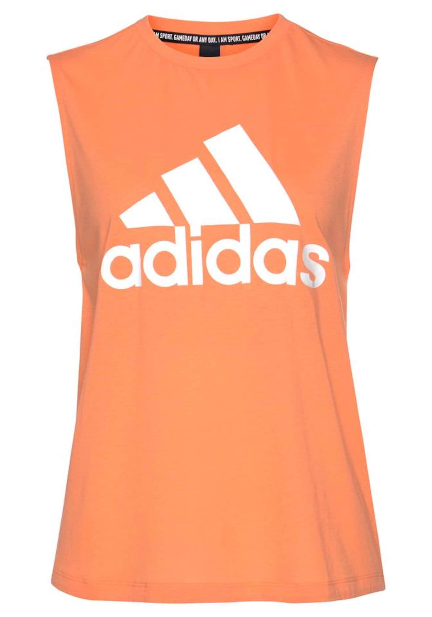 ADIDAS PERFORMANCE Sportiniai marškinėliai be rankovių balta / oranžinė