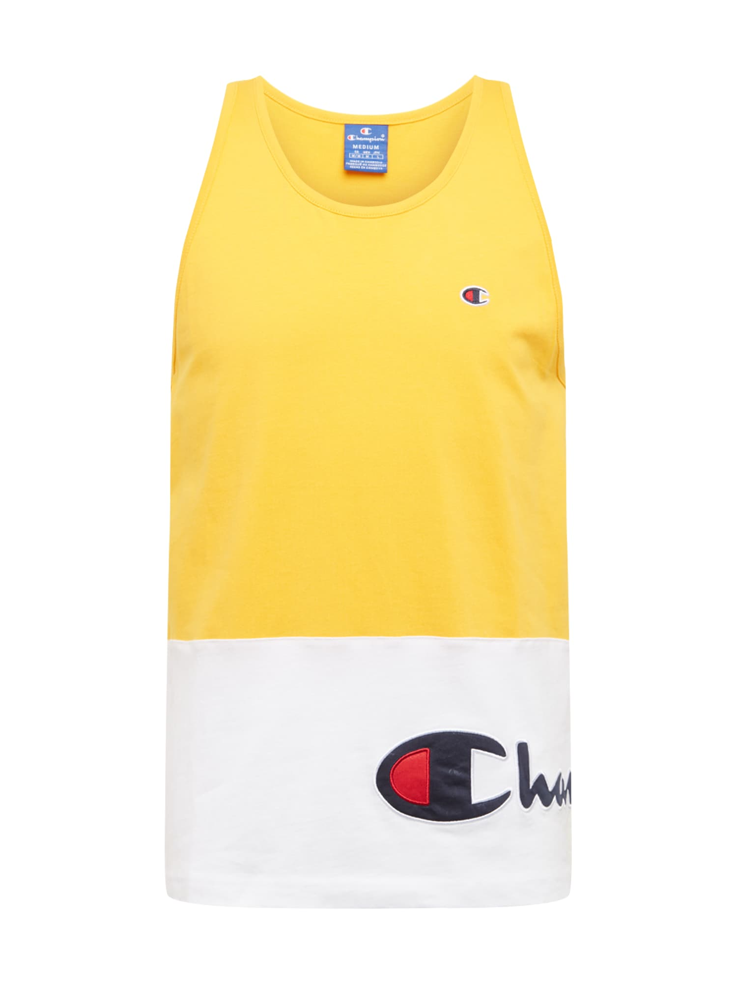 Champion Authentic Athletic Apparel Marškinėliai balta / geltona