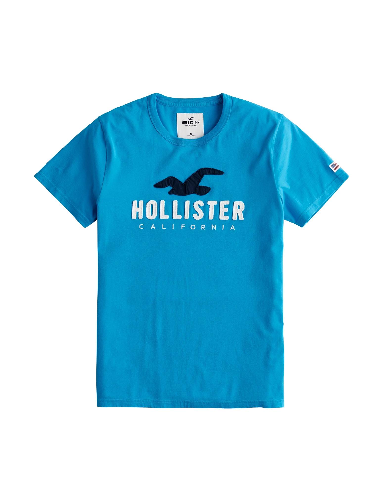 HOLLISTER Tričko 'ICONIC'  modrá / černá / bílá