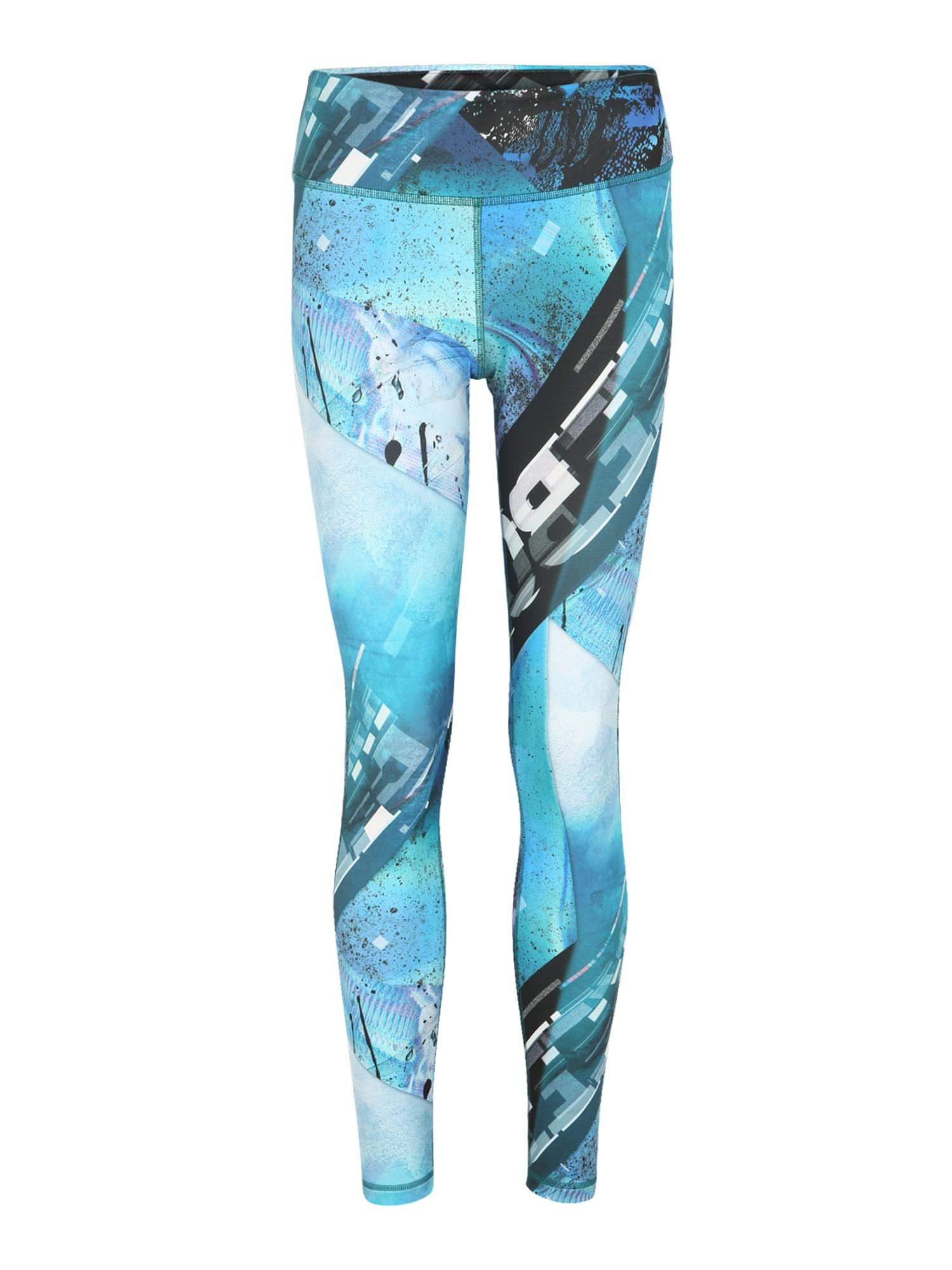 REEBOK Športové nohavice  biela / modré / vodová / čierna