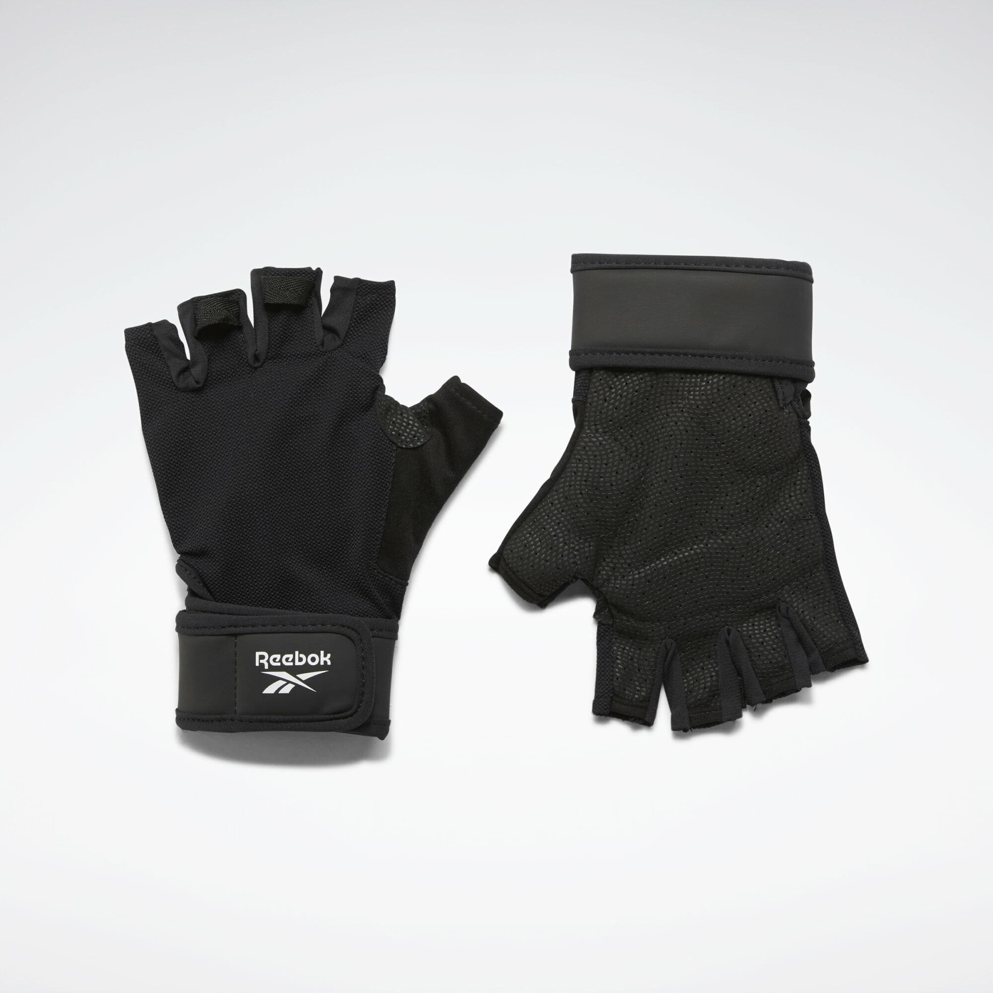 REEBOK Sportinės pirštinės juoda / balta