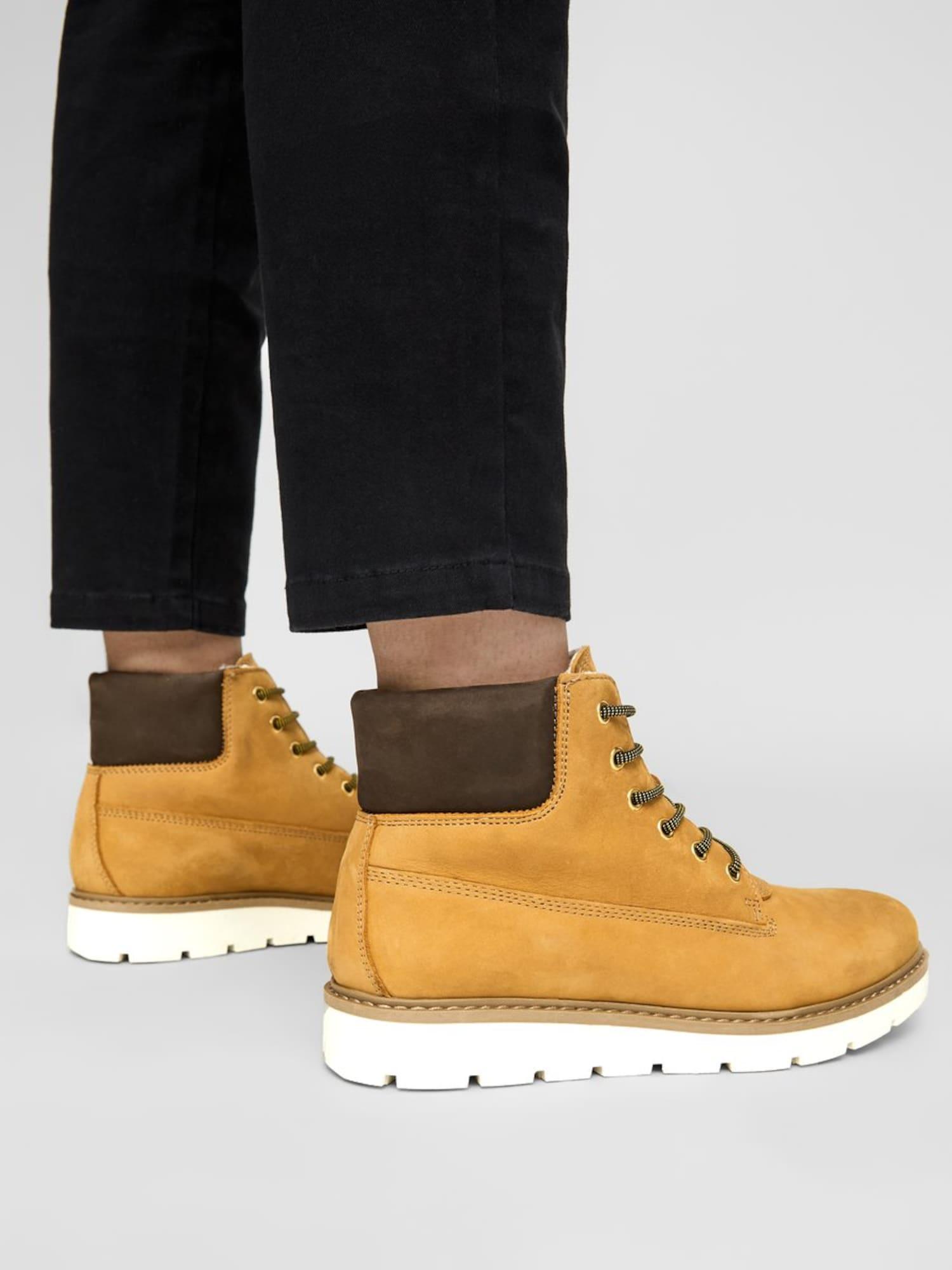 Bianco, Damen Boots Anli, kastanjebruin / goudgeel / zilver / wit