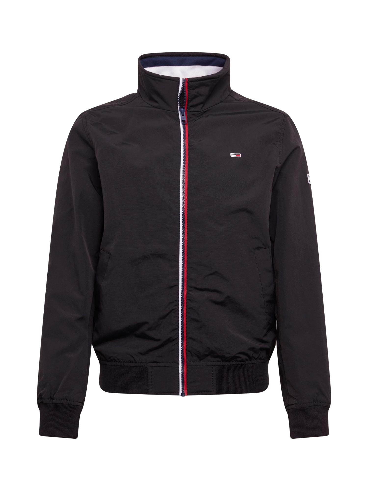 Tommy Jeans Žieminė striukė 'TJM ESSENTIAL BOMBER JACKET' juoda / balta / raudona