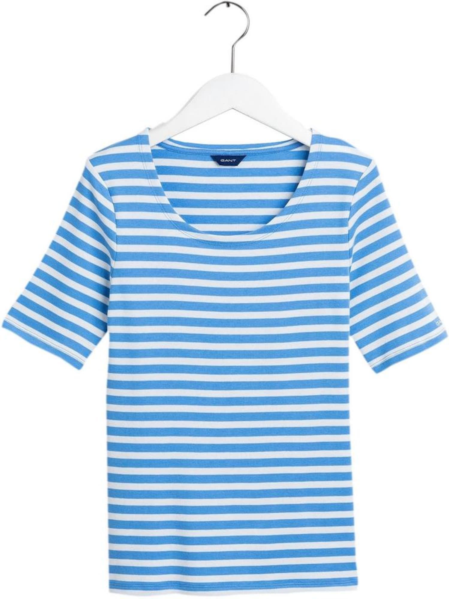 GANT Marškinėliai balta / mėlyna