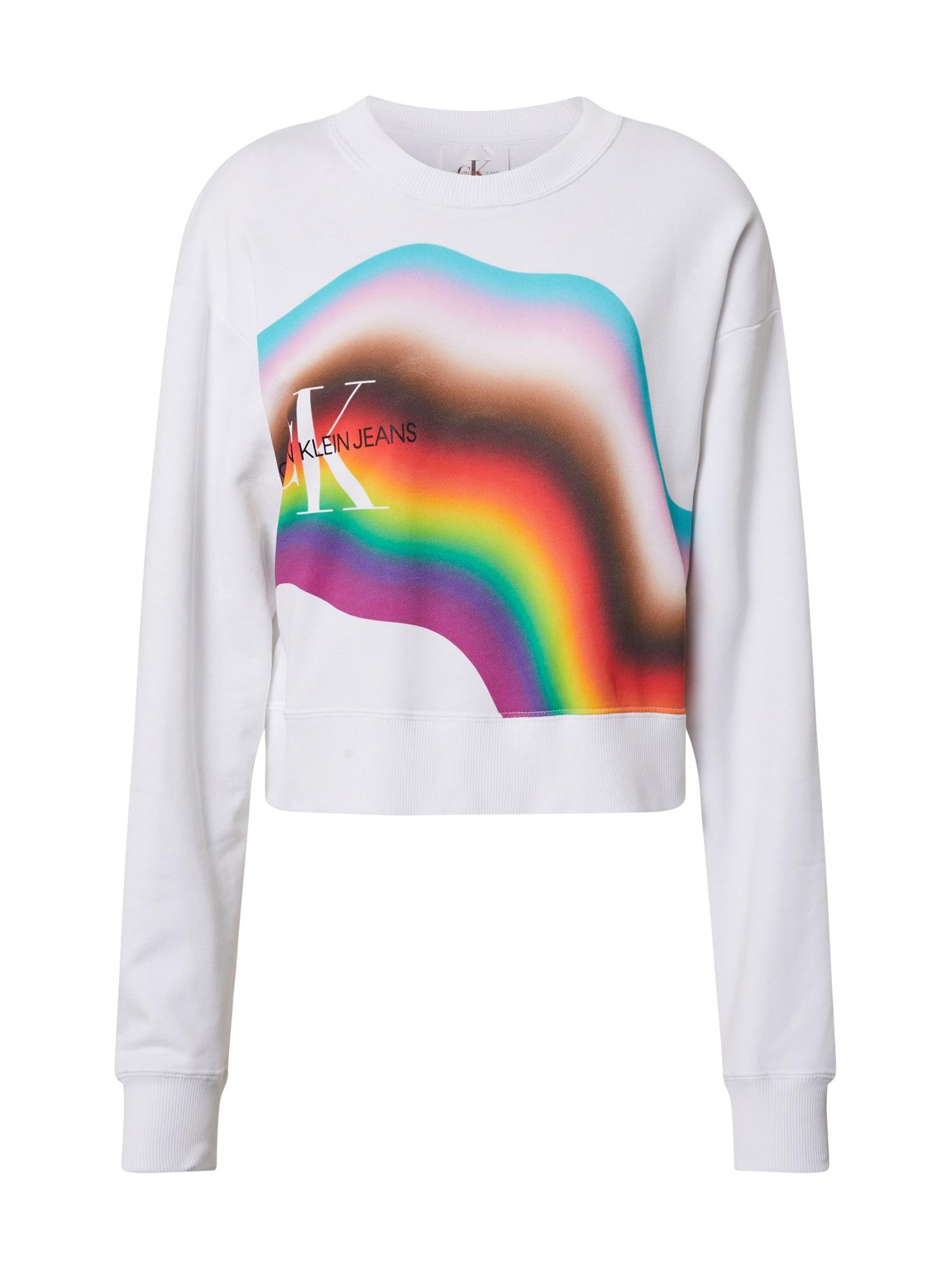 Calvin Klein Jeans Megztinis be užsegimo 'Distorted Rainbow' balta