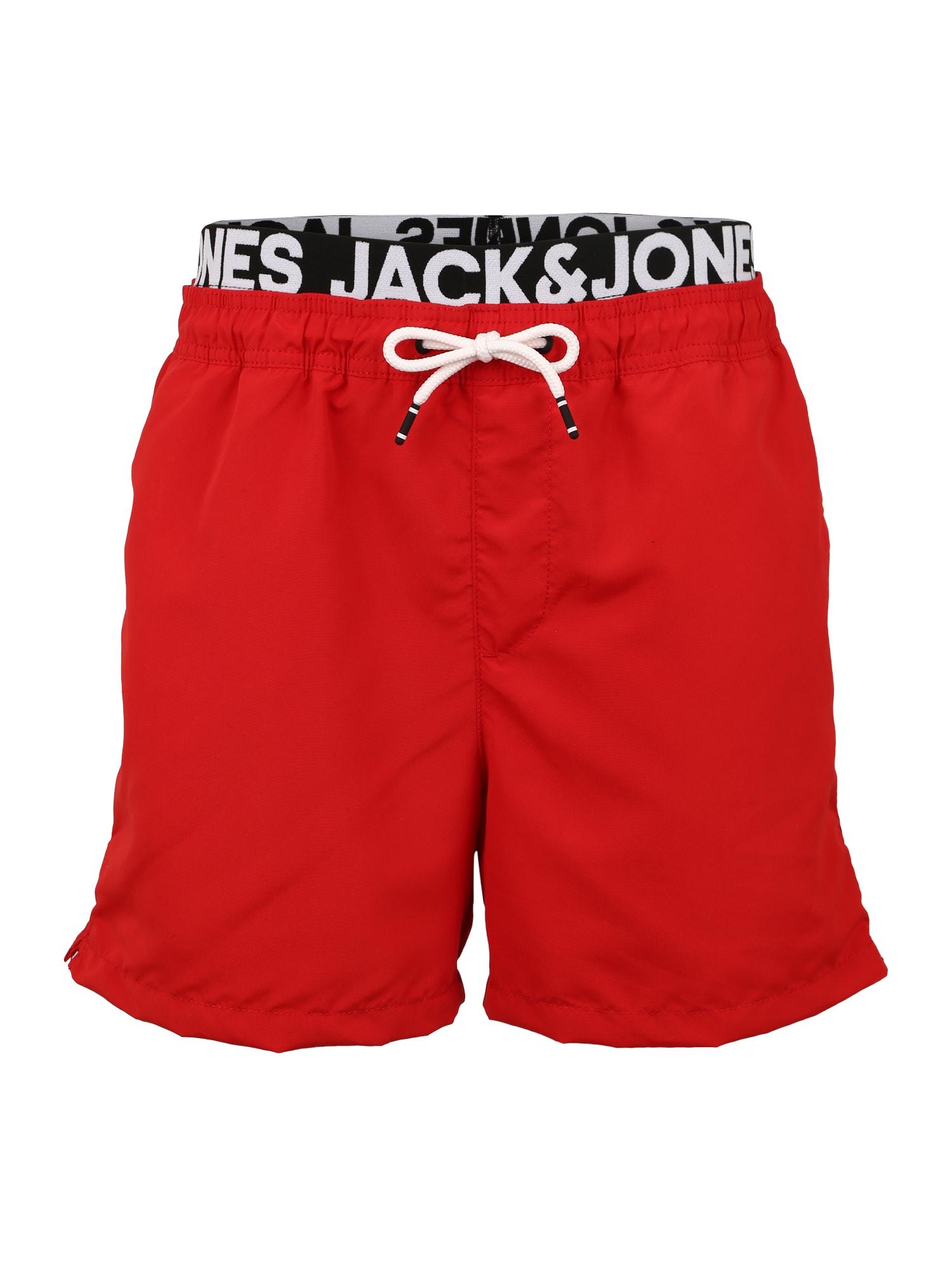 JACK & JONES Plavecké šortky 'JJICALI JJSWIM SHORTS AKM DOUBLE WB'  červená
