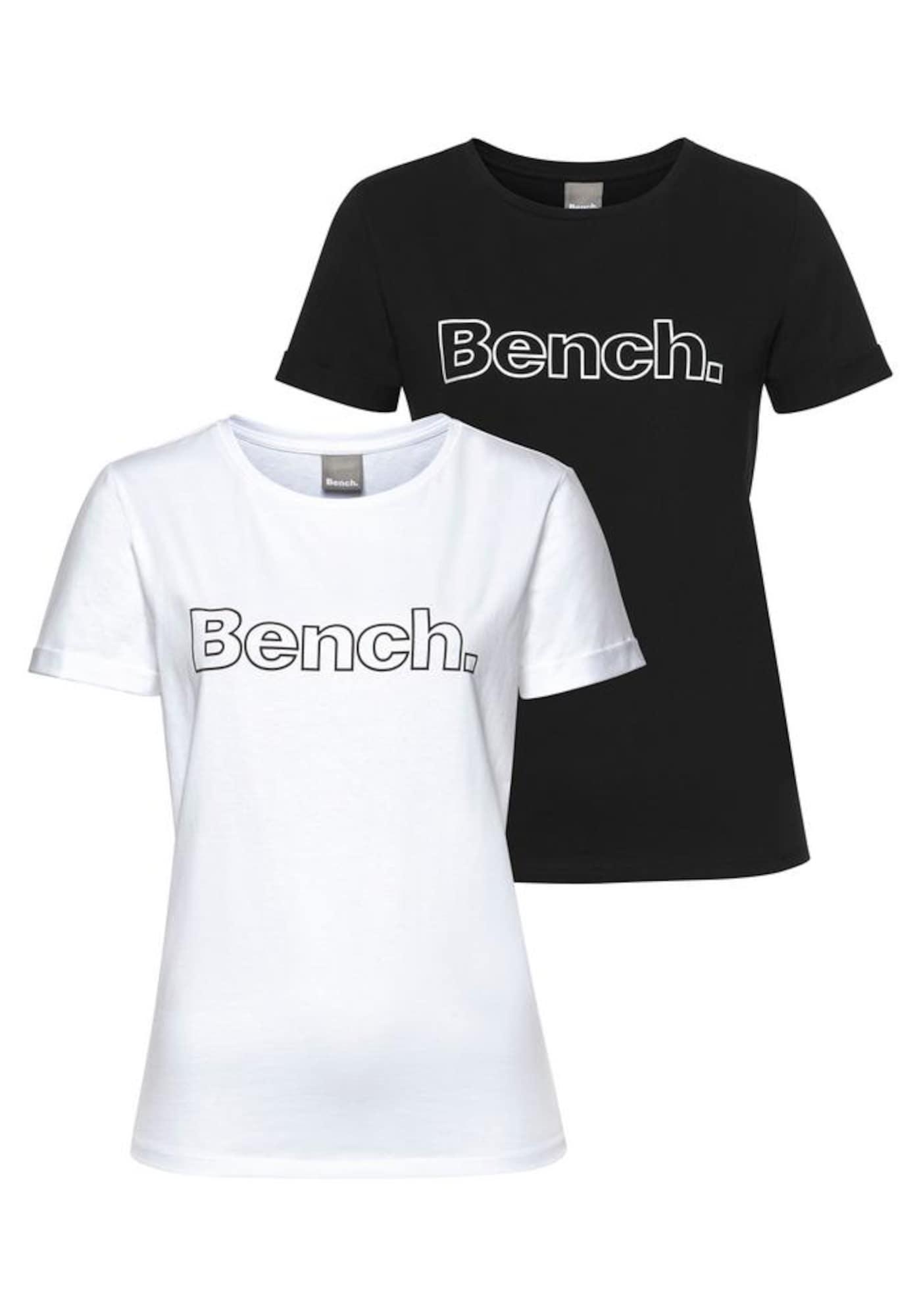 BENCH Marškinėliai juoda / balta