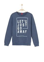 Kinder,  Jungen S.Oliver Junior Lässiger Sweater mit Wascheffekt blau,  weiß   04055268123158
